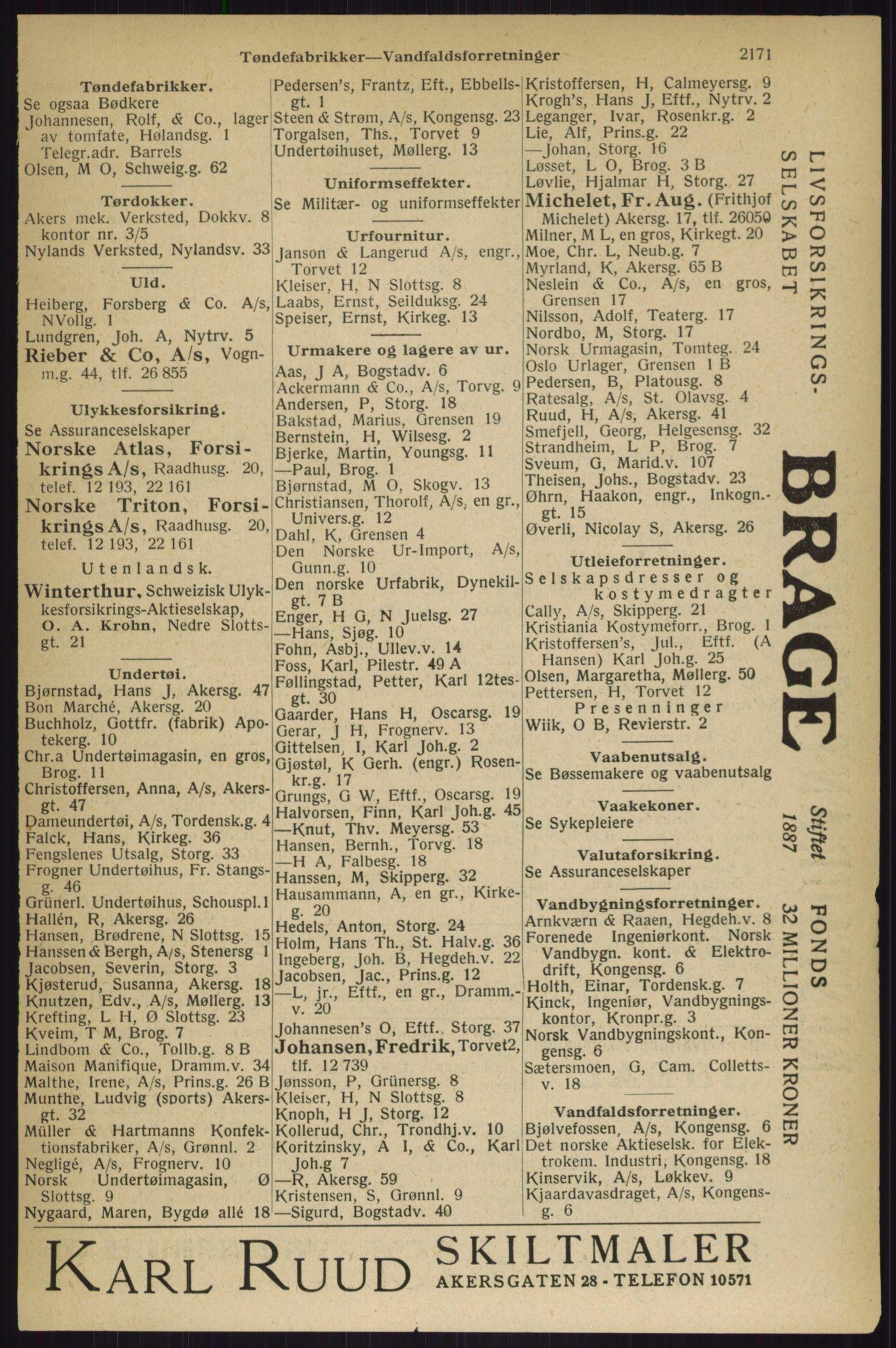 RA, Oslo adressebok (publikasjon)*, 1927, s. 2171