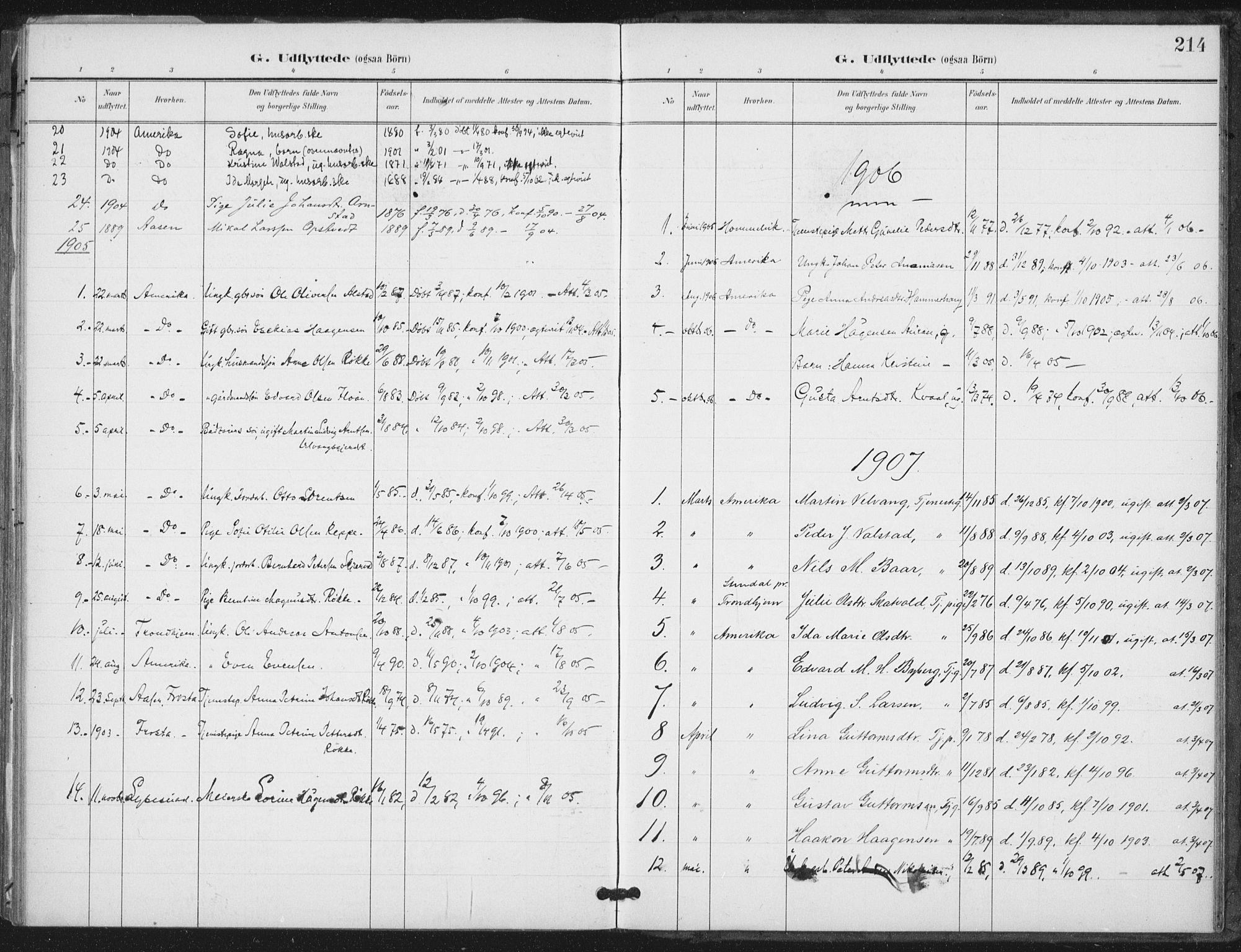SAT, Ministerialprotokoller, klokkerbøker og fødselsregistre - Nord-Trøndelag, 712/L0101: Ministerialbok nr. 712A02, 1901-1916, s. 214