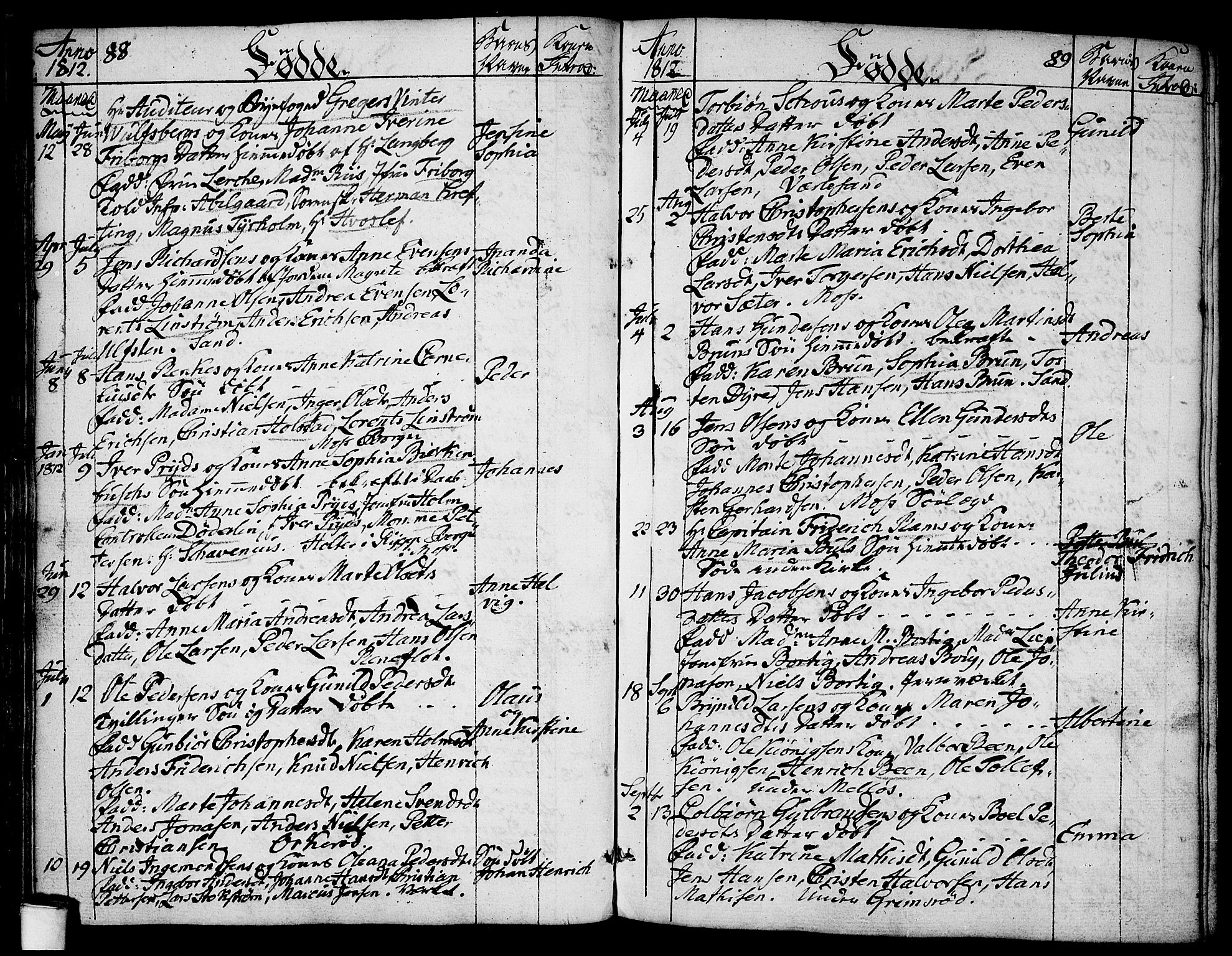 SAO, Moss prestekontor Kirkebøker, F/Fa/Faa/L0003: Ministerialbok nr. I 3, 1779-1814, s. 88-89