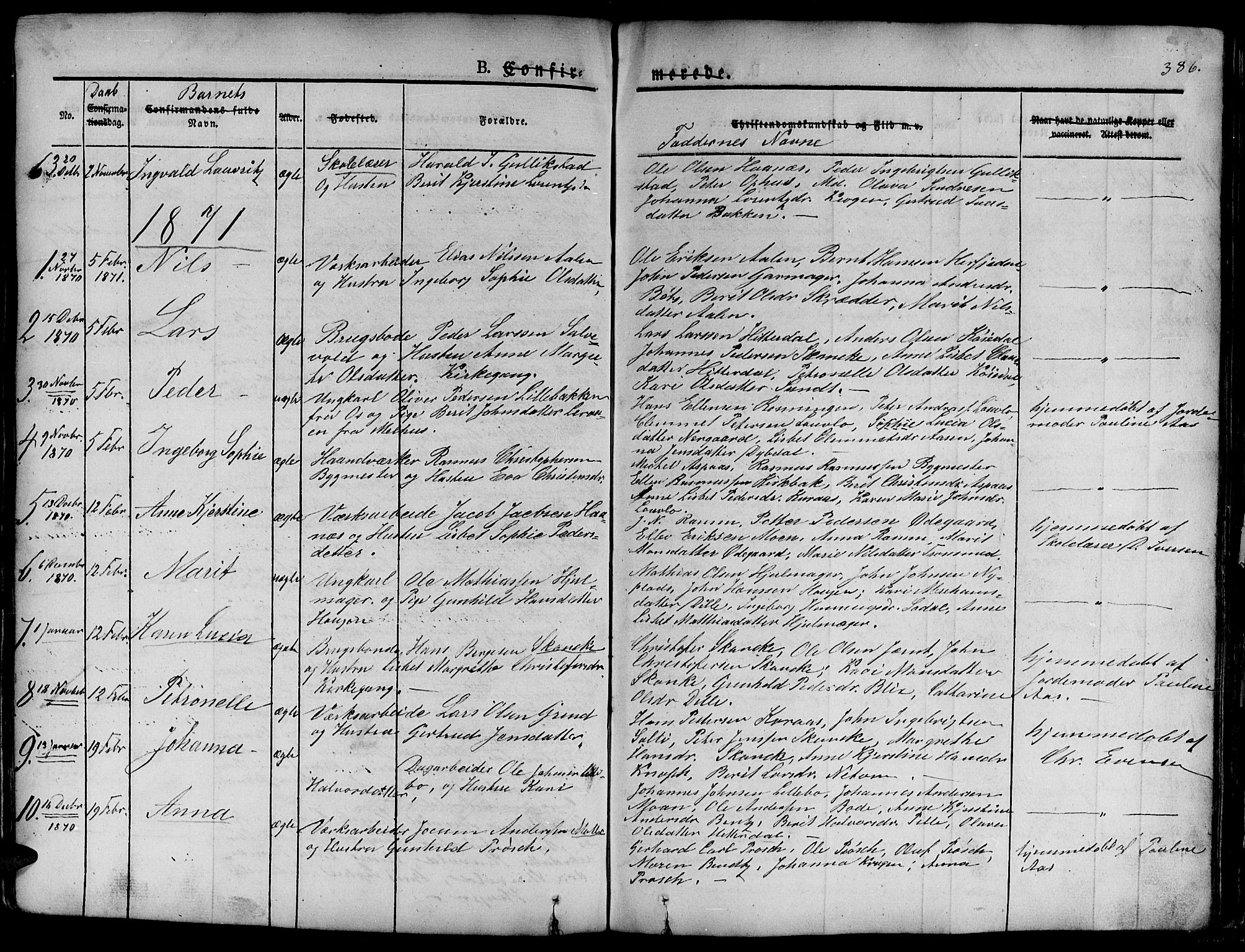 SAT, Ministerialprotokoller, klokkerbøker og fødselsregistre - Sør-Trøndelag, 681/L0938: Klokkerbok nr. 681C02, 1829-1879, s. 386