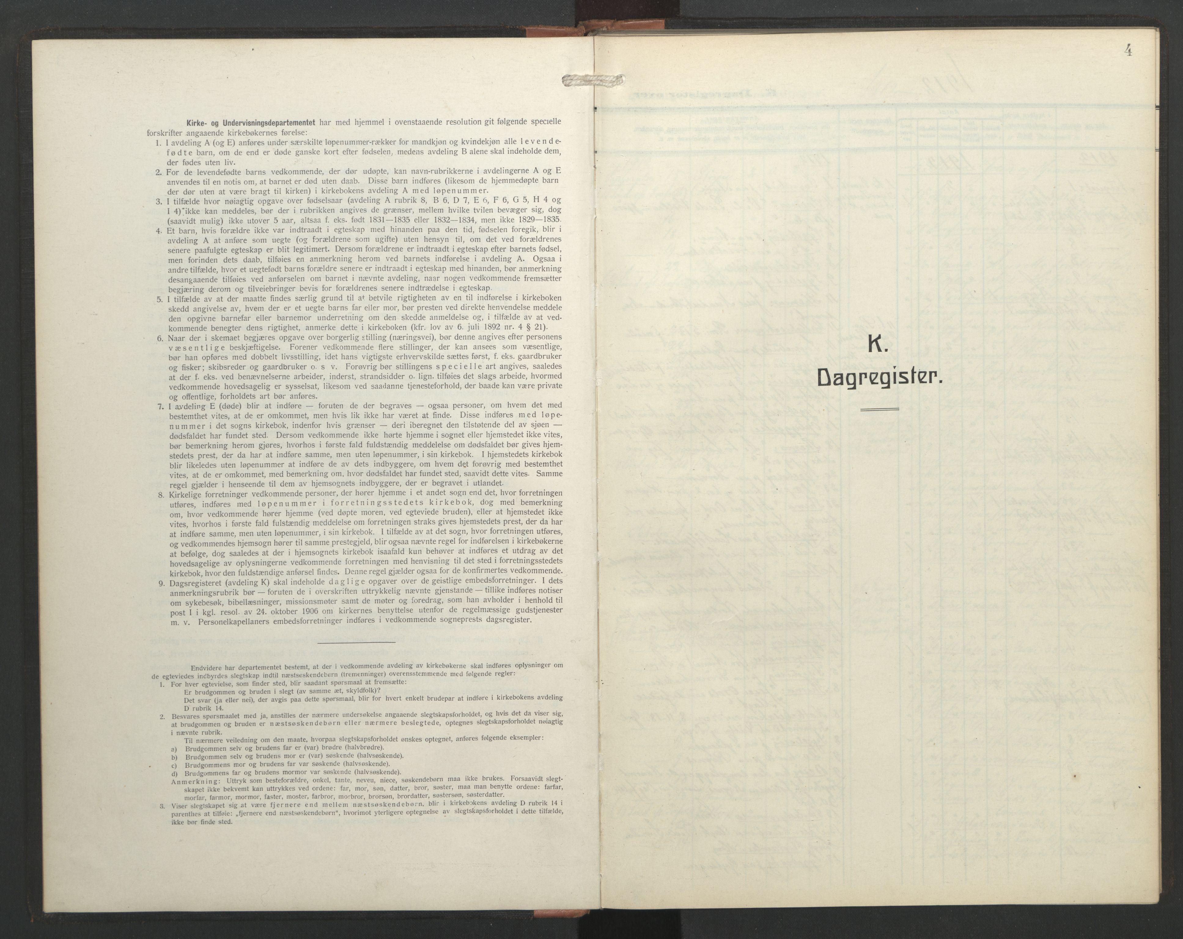 SAT, Ministerialprotokoller, klokkerbøker og fødselsregistre - Sør-Trøndelag, 687/L1006: Dagregister nr. 687A12, 1912-1931, s. 4