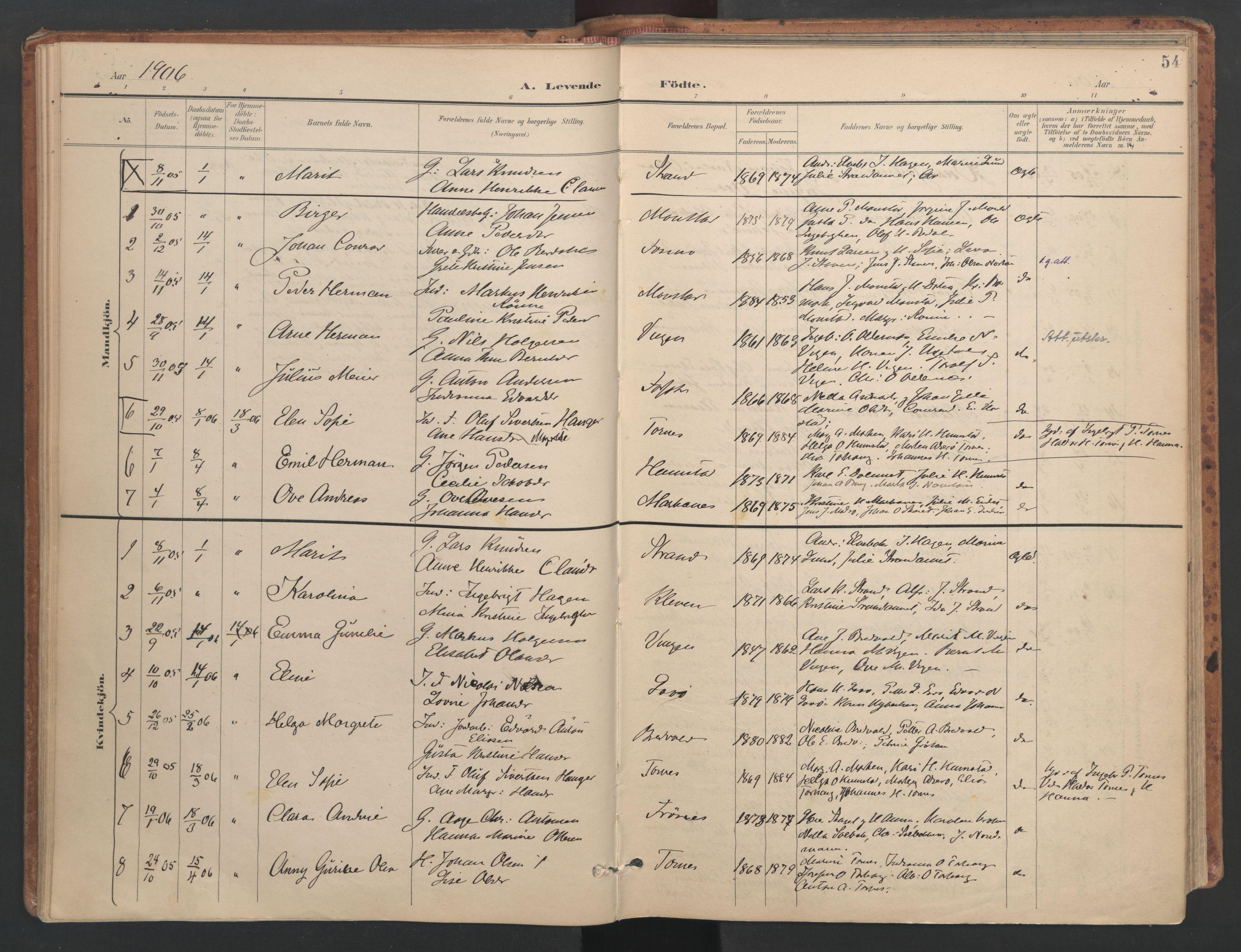 SAT, Ministerialprotokoller, klokkerbøker og fødselsregistre - Sør-Trøndelag, 655/L0681: Ministerialbok nr. 655A10, 1895-1907, s. 54