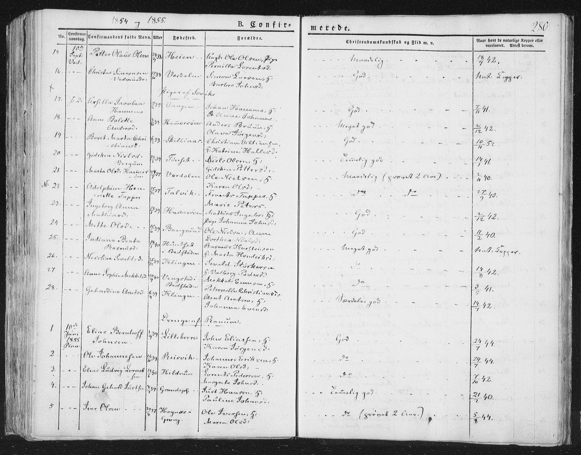 SAT, Ministerialprotokoller, klokkerbøker og fødselsregistre - Nord-Trøndelag, 764/L0551: Ministerialbok nr. 764A07a, 1824-1864, s. 280