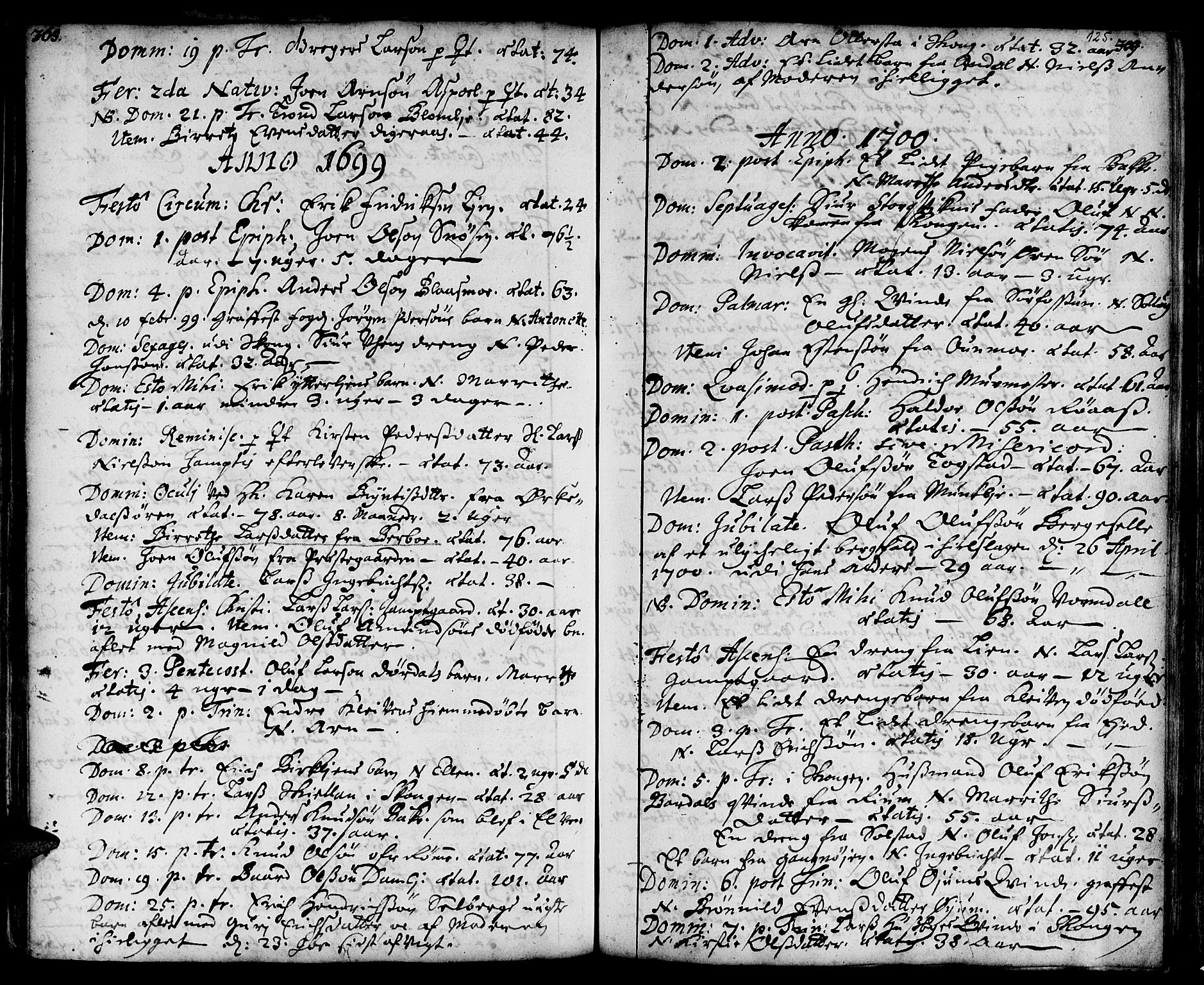 SAT, Ministerialprotokoller, klokkerbøker og fødselsregistre - Sør-Trøndelag, 668/L0801: Ministerialbok nr. 668A01, 1695-1716, s. 124-125