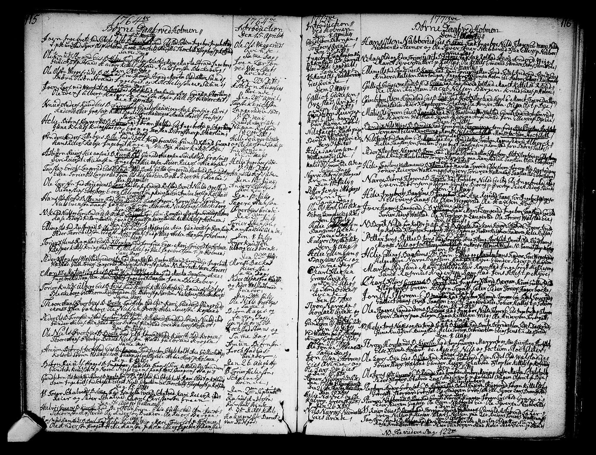 SAKO, Sigdal kirkebøker, F/Fa/L0001: Ministerialbok nr. I 1, 1722-1777, s. 115-116