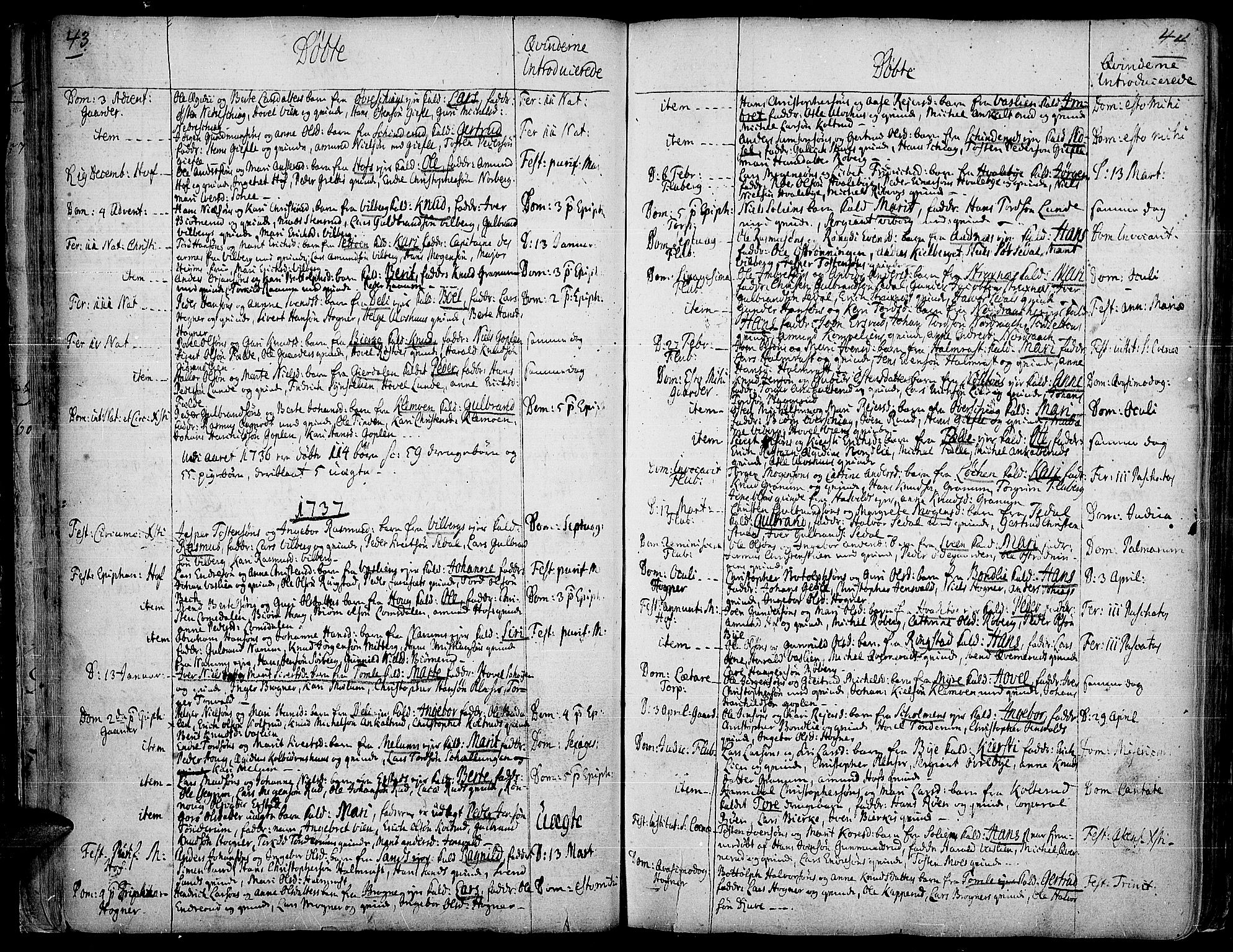 SAH, Land prestekontor, Ministerialbok nr. 2, 1733-1764, s. 43-44
