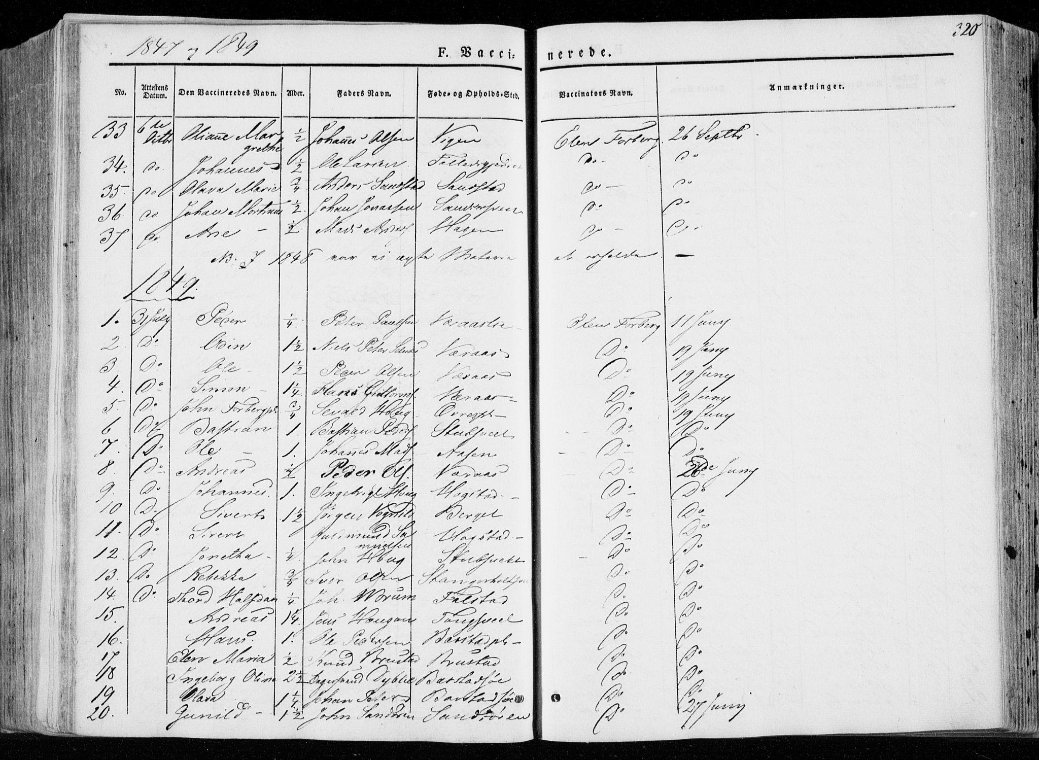 SAT, Ministerialprotokoller, klokkerbøker og fødselsregistre - Nord-Trøndelag, 722/L0218: Ministerialbok nr. 722A05, 1843-1868, s. 320