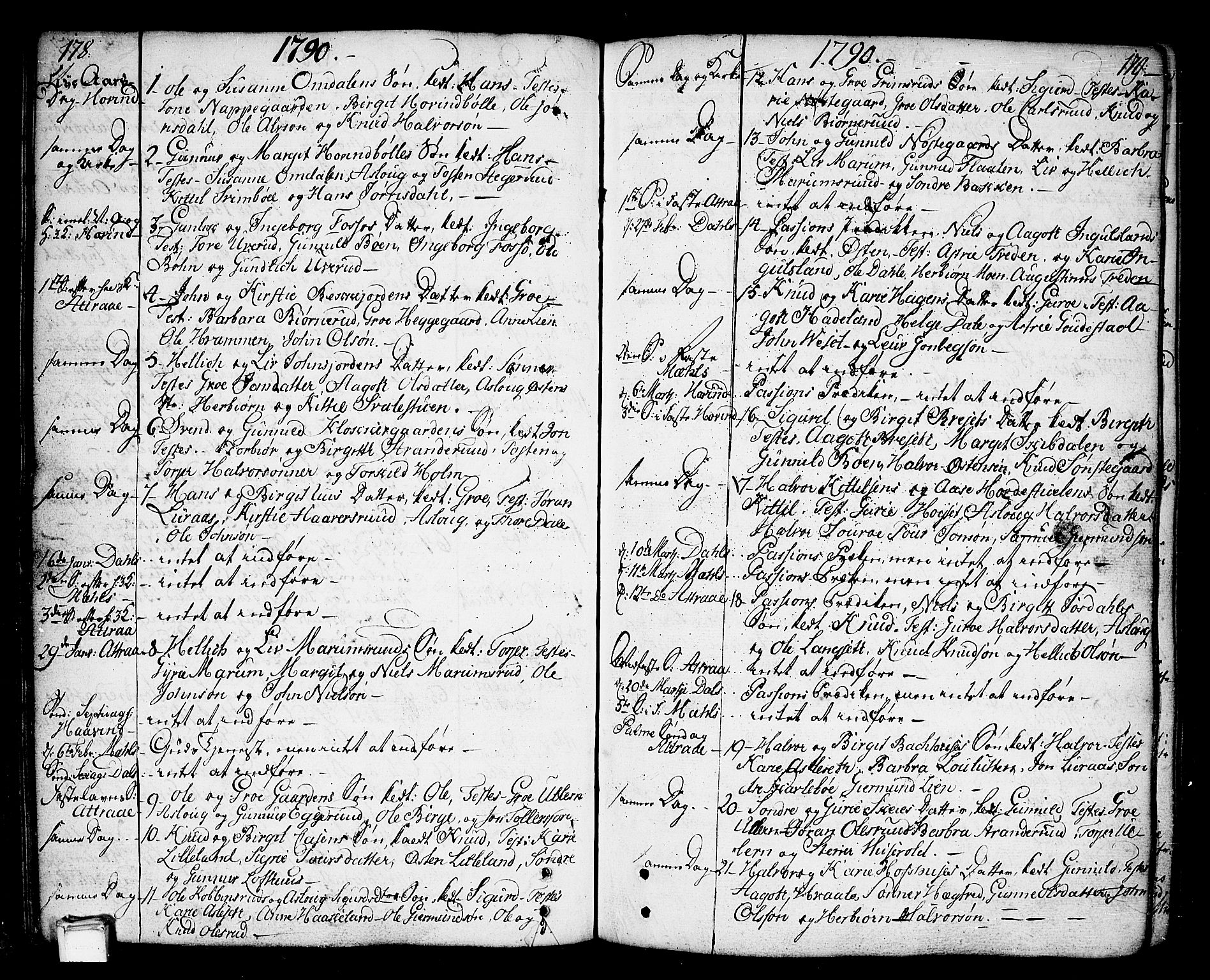 SAKO, Tinn kirkebøker, F/Fa/L0002: Ministerialbok nr. I 2, 1757-1810, s. 178-179