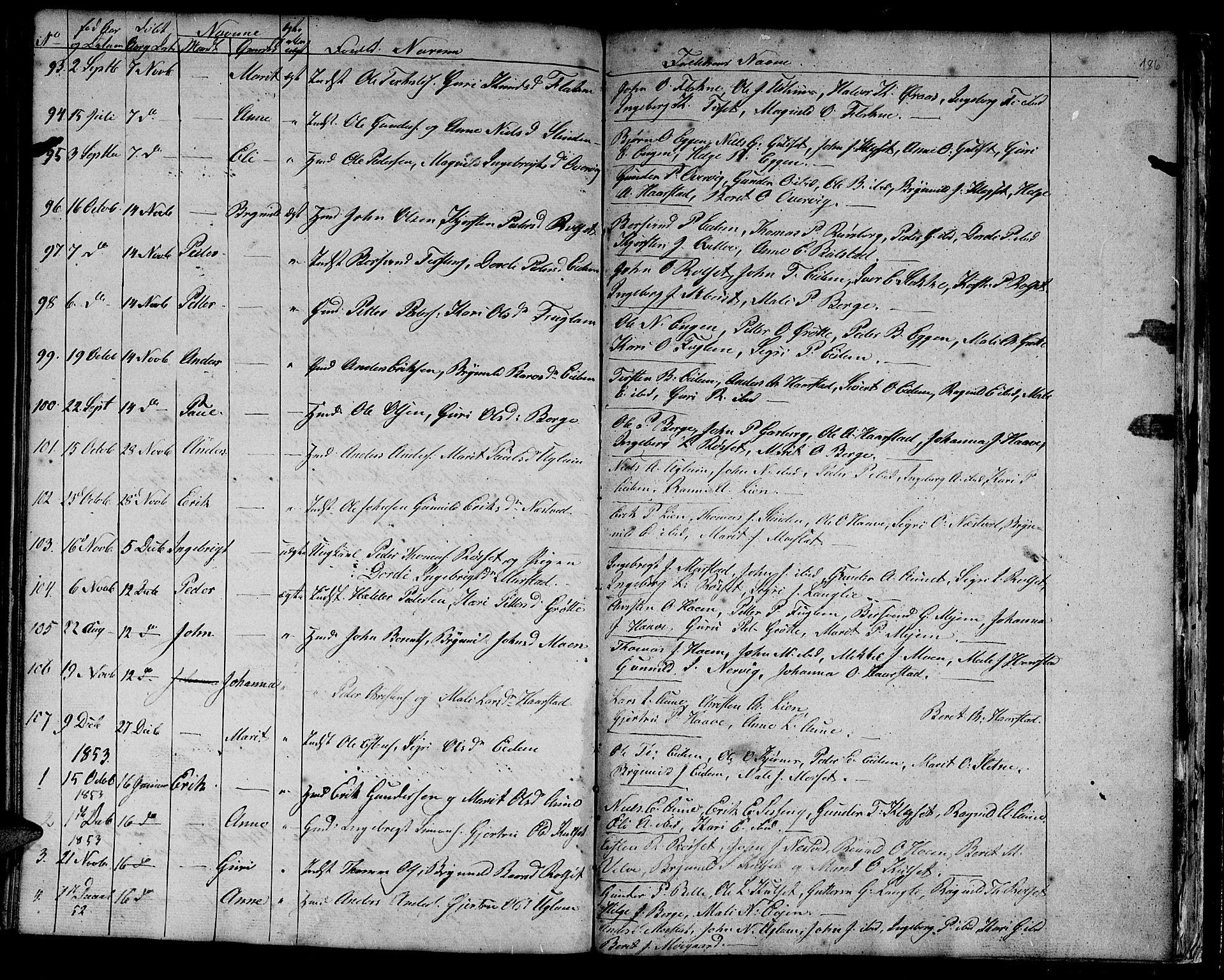 SAT, Ministerialprotokoller, klokkerbøker og fødselsregistre - Sør-Trøndelag, 695/L1154: Klokkerbok nr. 695C05, 1842-1858, s. 186