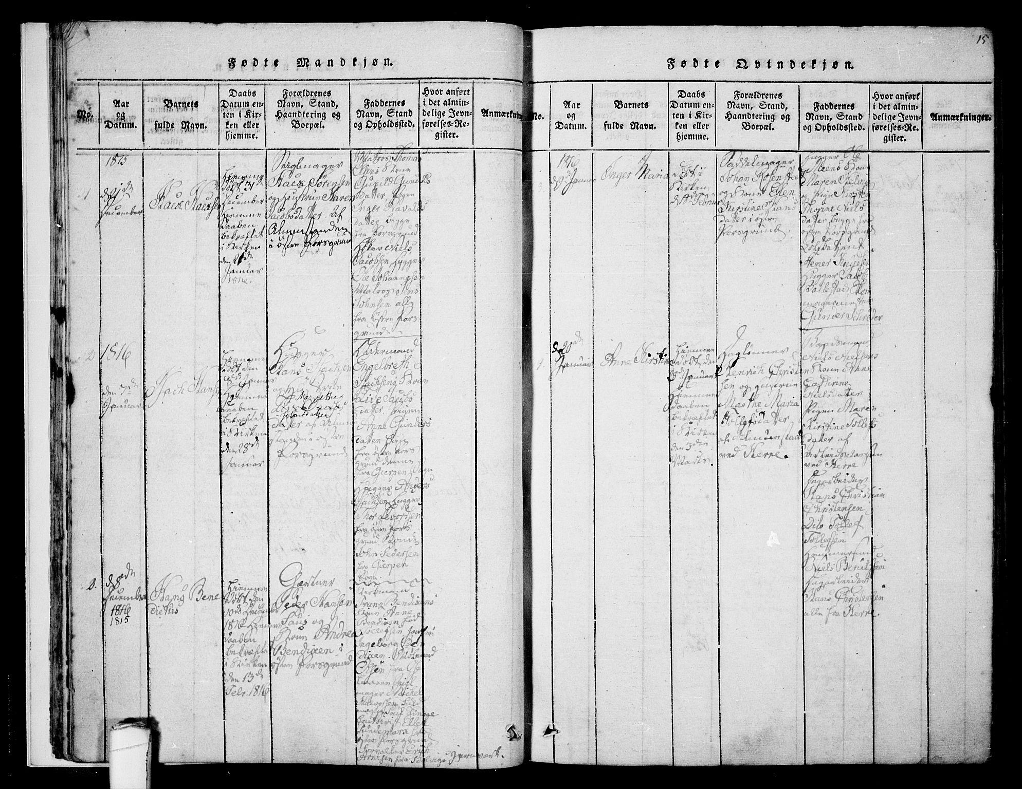 SAKO, Porsgrunn kirkebøker , F/Fa/L0004: Ministerialbok nr. 4, 1814-1828, s. 15