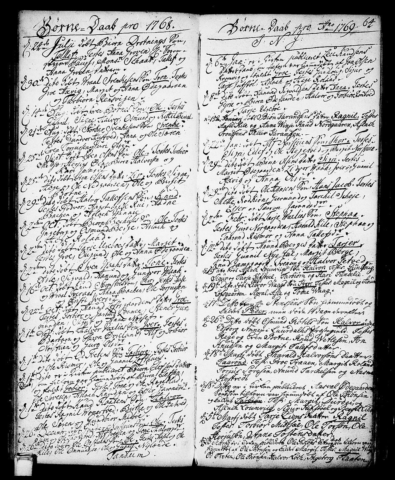 SAKO, Vinje kirkebøker, F/Fa/L0002: Ministerialbok nr. I 2, 1767-1814, s. 64