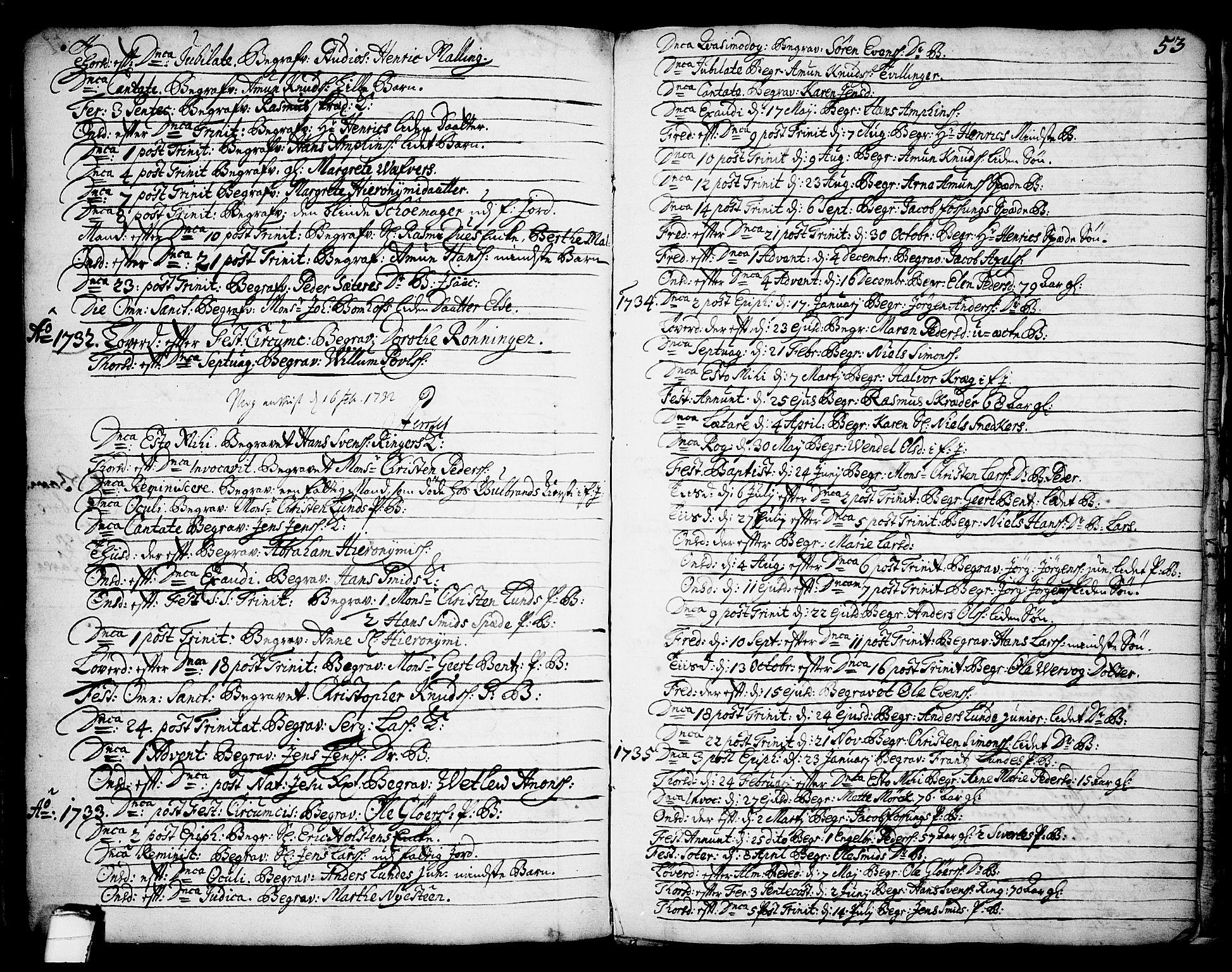 SAKO, Brevik kirkebøker, F/Fa/L0002: Ministerialbok nr. 2, 1720-1764, s. 53