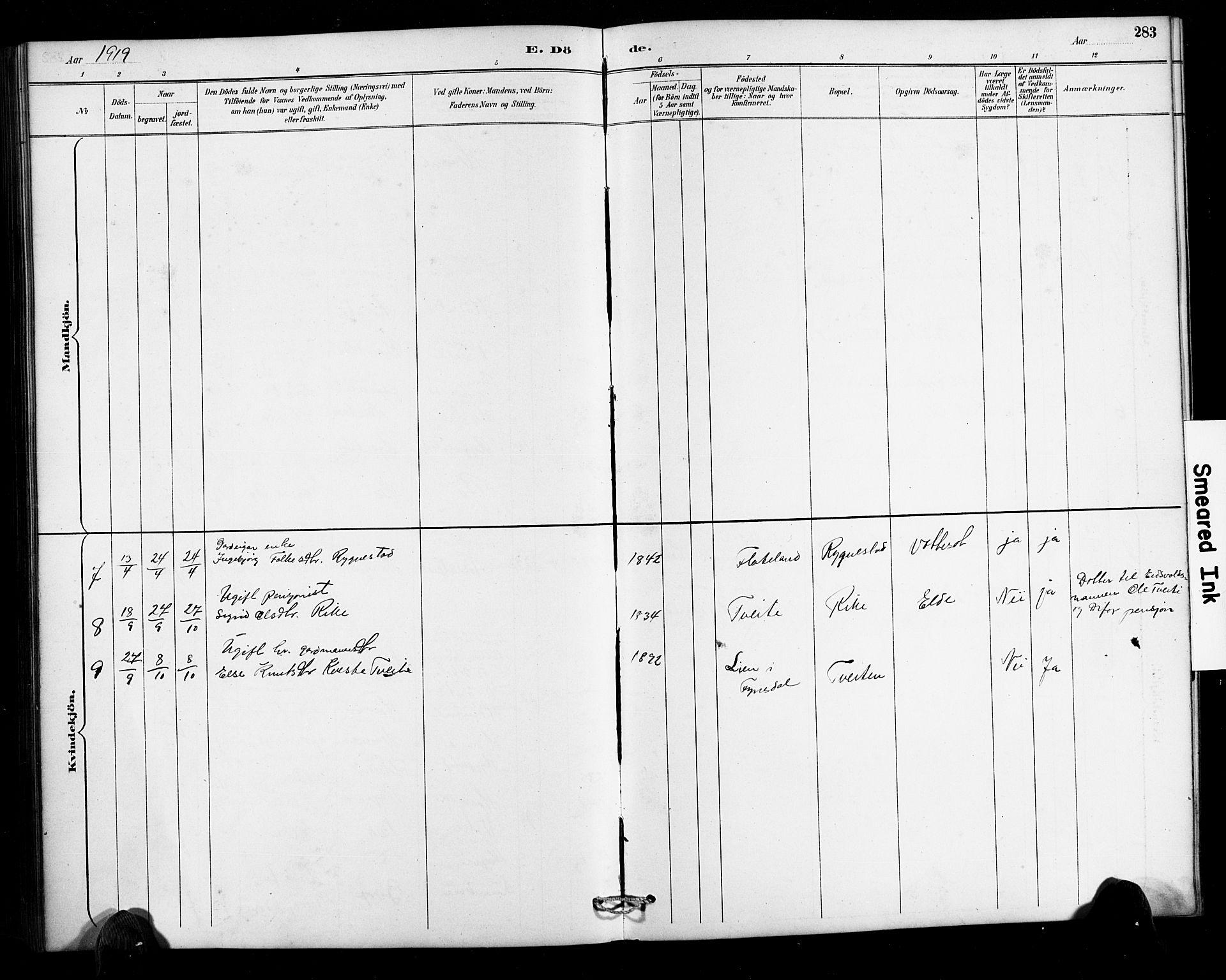 SAK, Valle sokneprestkontor, F/Fb/Fbc/L0004: Klokkerbok nr. B 4, 1890-1928, s. 283