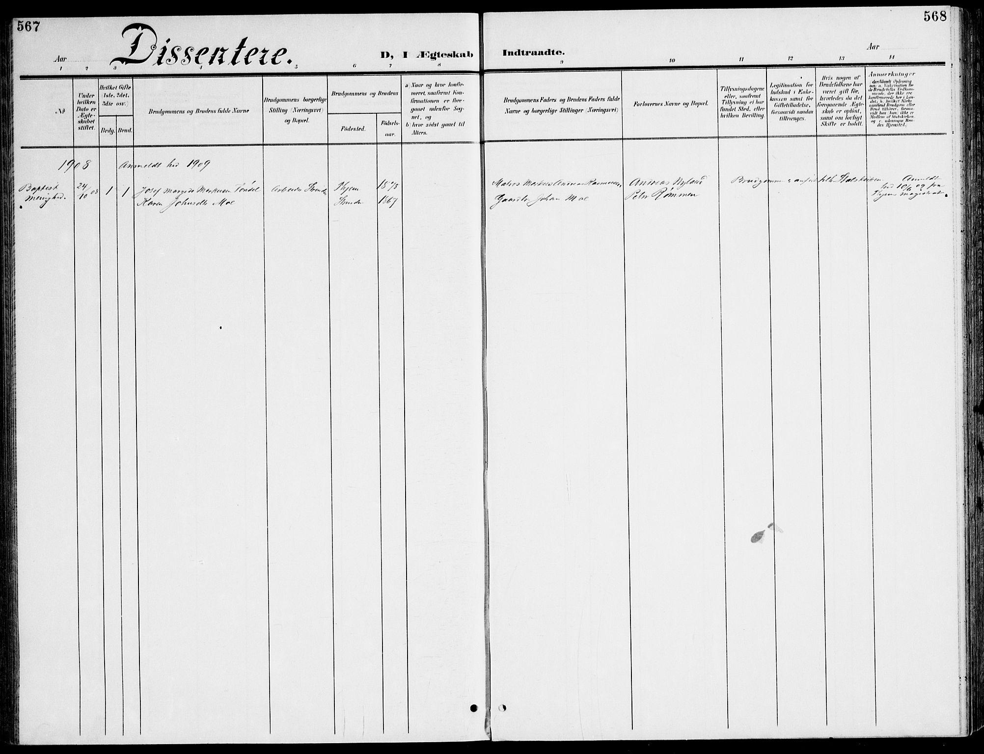 SAT, Ministerialprotokoller, klokkerbøker og fødselsregistre - Sør-Trøndelag, 607/L0320: Ministerialbok nr. 607A04, 1907-1915, s. 567-568