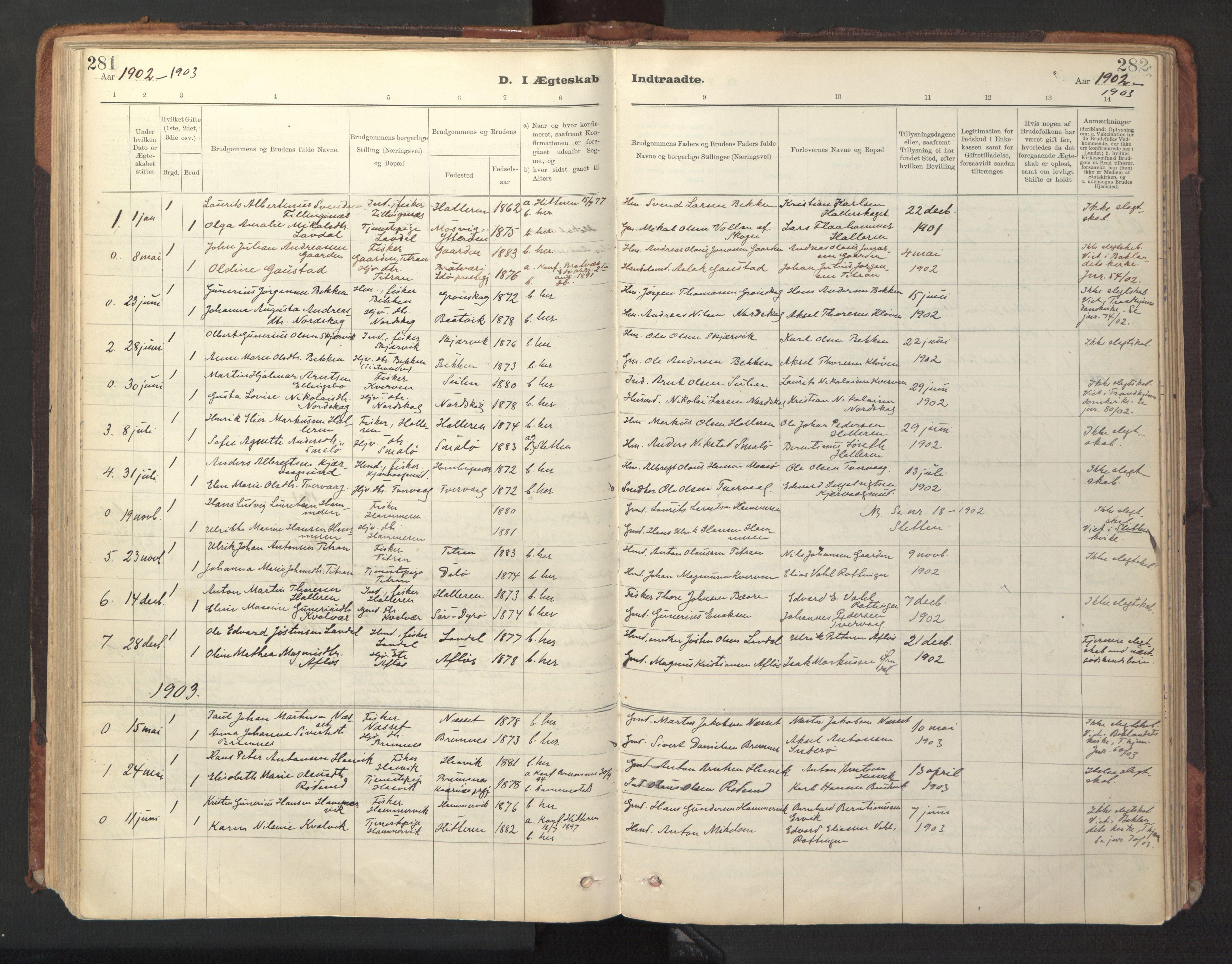 SAT, Ministerialprotokoller, klokkerbøker og fødselsregistre - Sør-Trøndelag, 641/L0596: Ministerialbok nr. 641A02, 1898-1915, s. 281-282