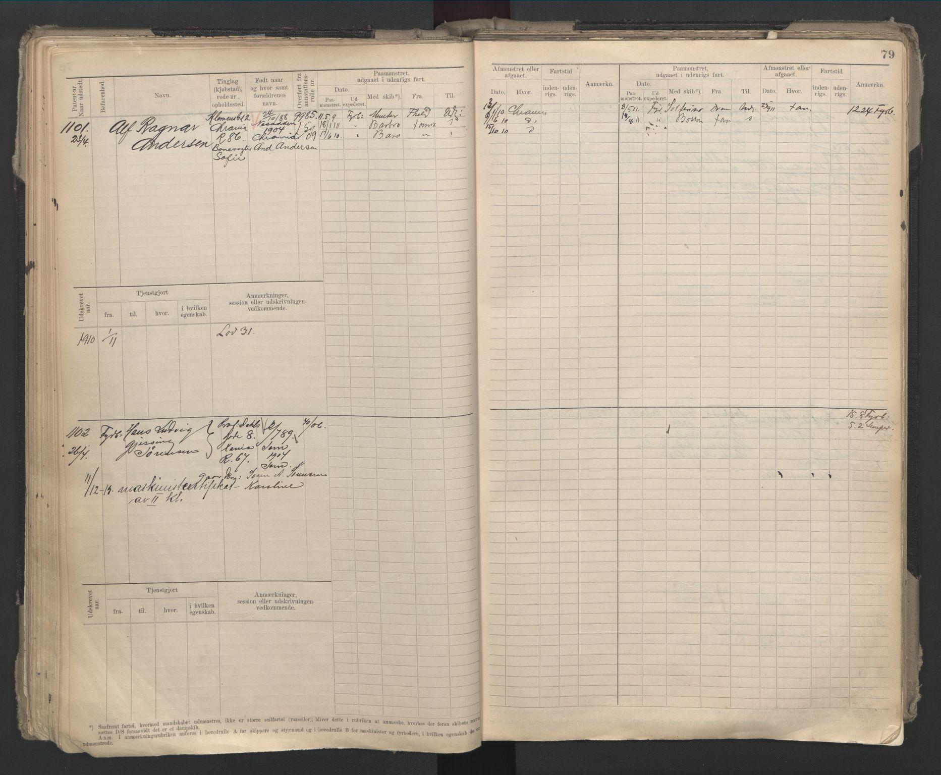 SAO, Oslo sjømannskontor, F/Fd/L0002: B-rulle, 1906-1916, s. 78b-79a