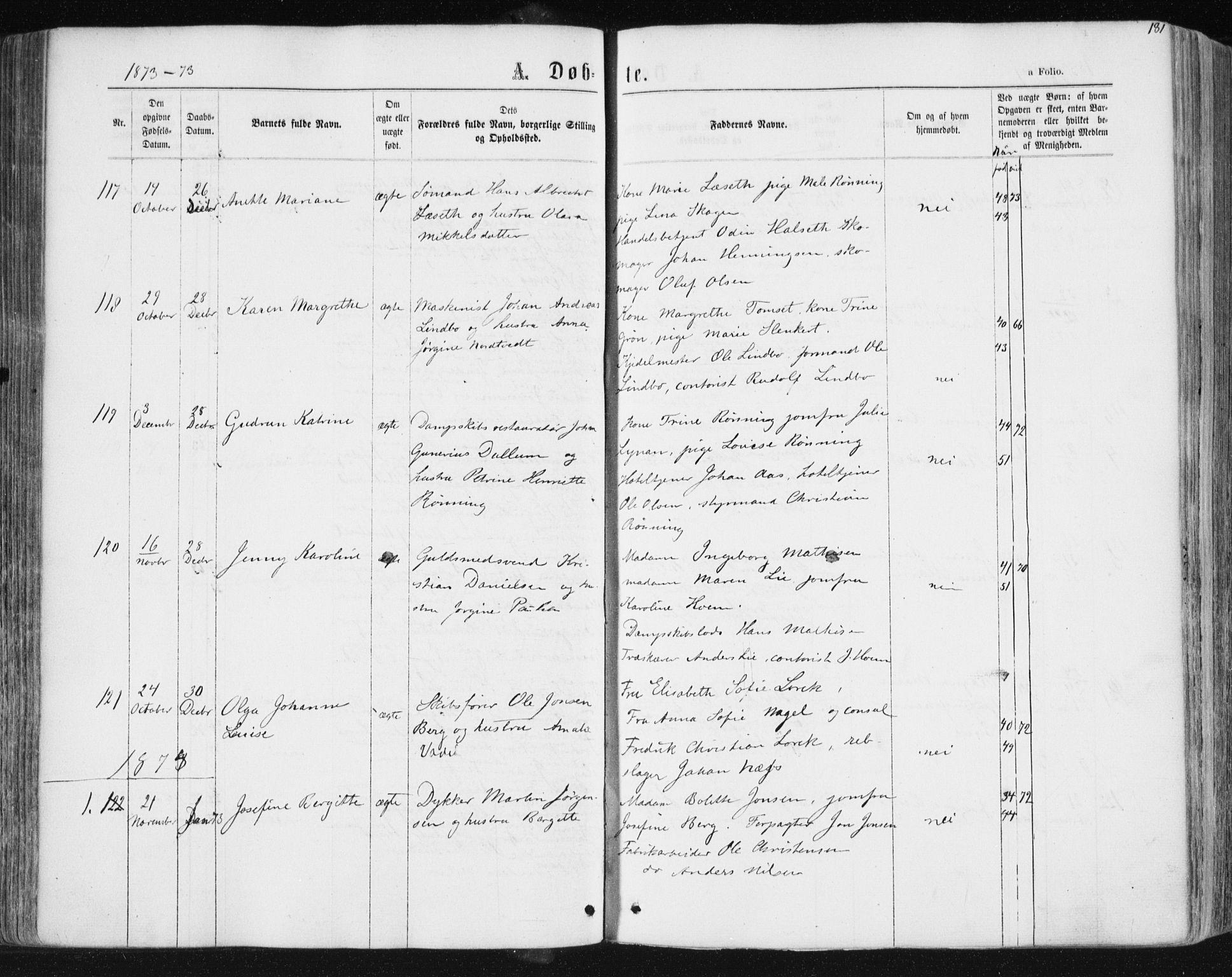 SAT, Ministerialprotokoller, klokkerbøker og fødselsregistre - Sør-Trøndelag, 604/L0186: Ministerialbok nr. 604A07, 1866-1877, s. 181