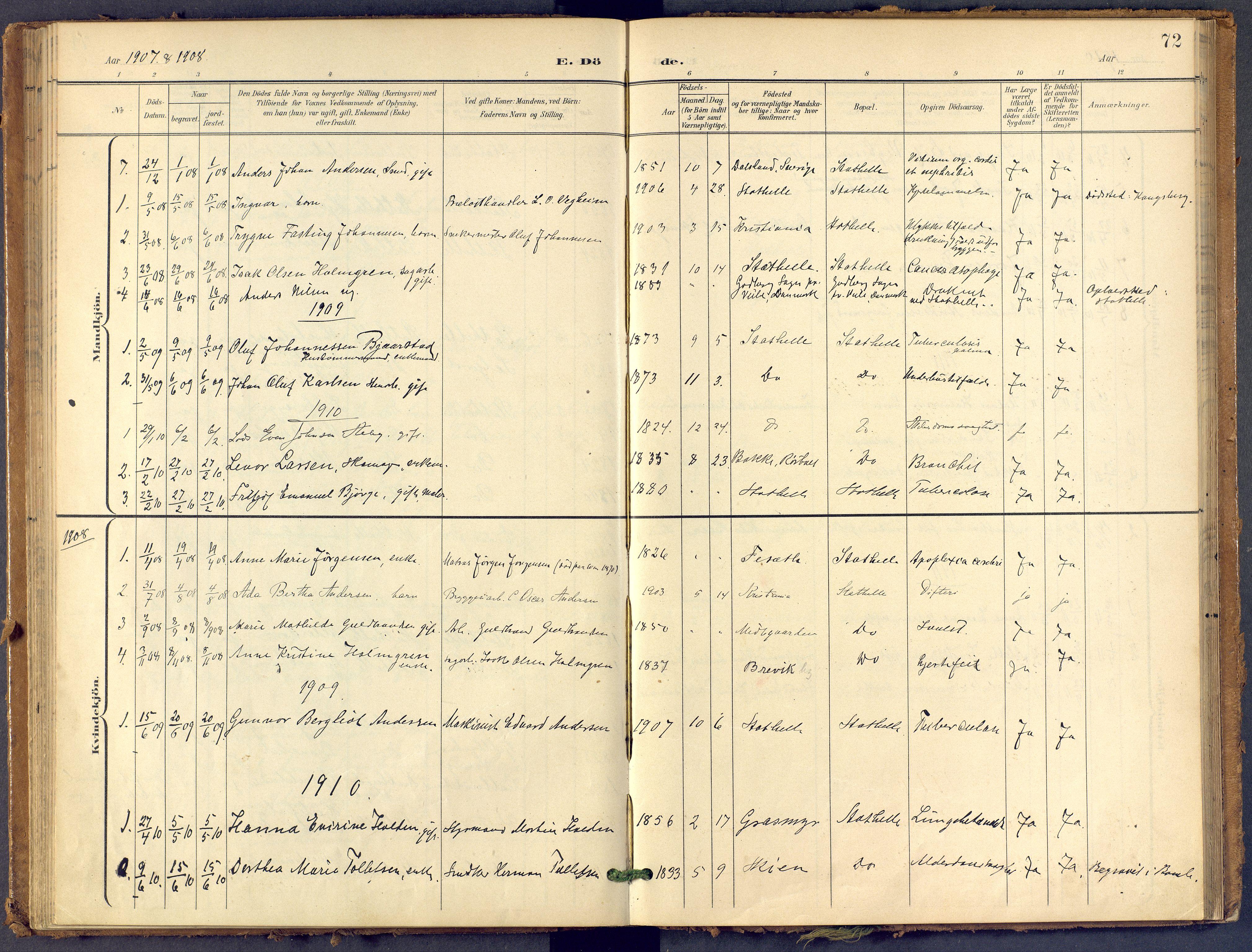 SAKO, Bamble kirkebøker, F/Fb/L0002: Ministerialbok nr. II 2, 1900-1921, s. 72