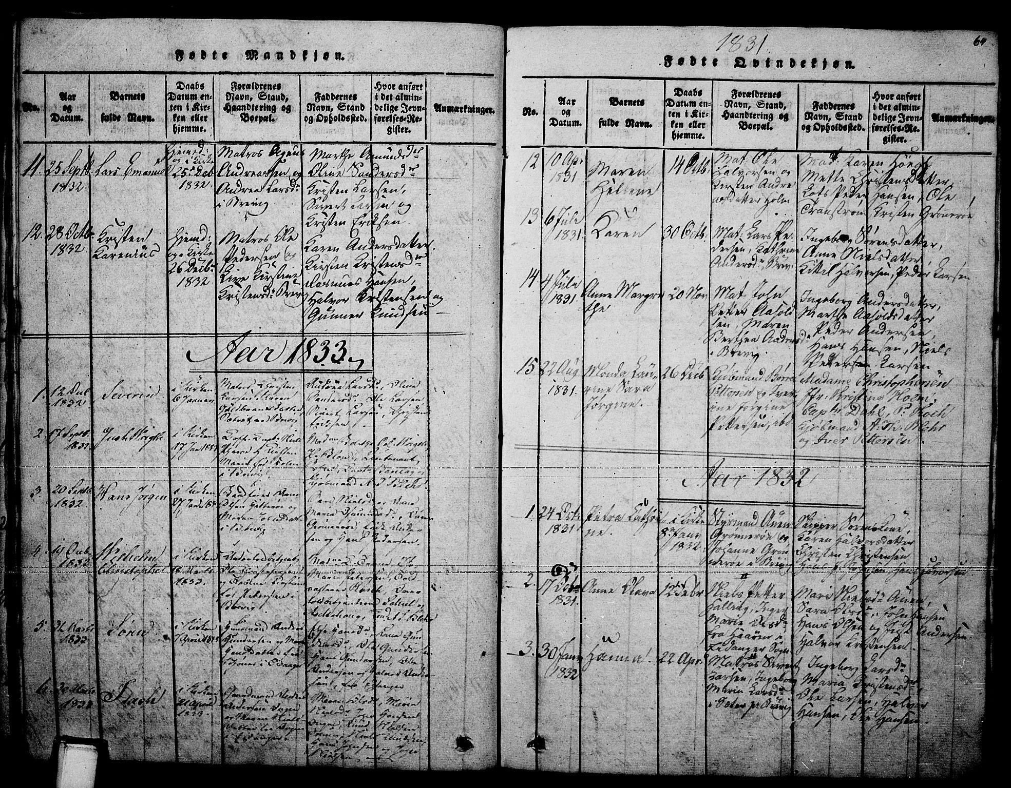 SAKO, Brevik kirkebøker, F/Fa/L0004: Ministerialbok nr. 4, 1814-1846, s. 64