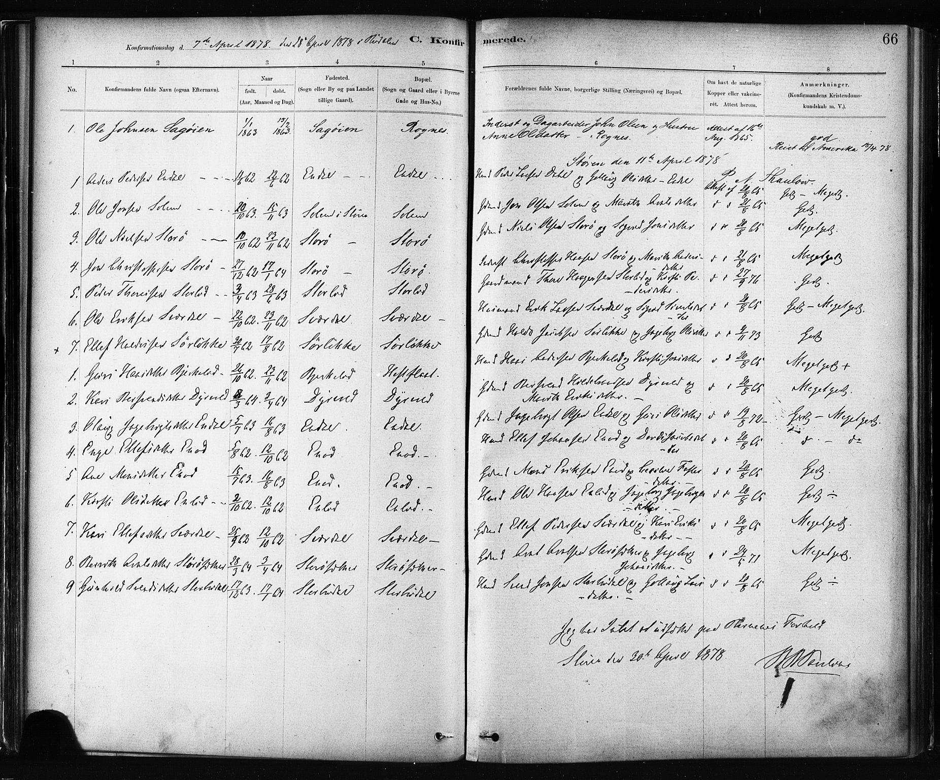 SAT, Ministerialprotokoller, klokkerbøker og fødselsregistre - Sør-Trøndelag, 687/L1002: Ministerialbok nr. 687A08, 1878-1890, s. 66