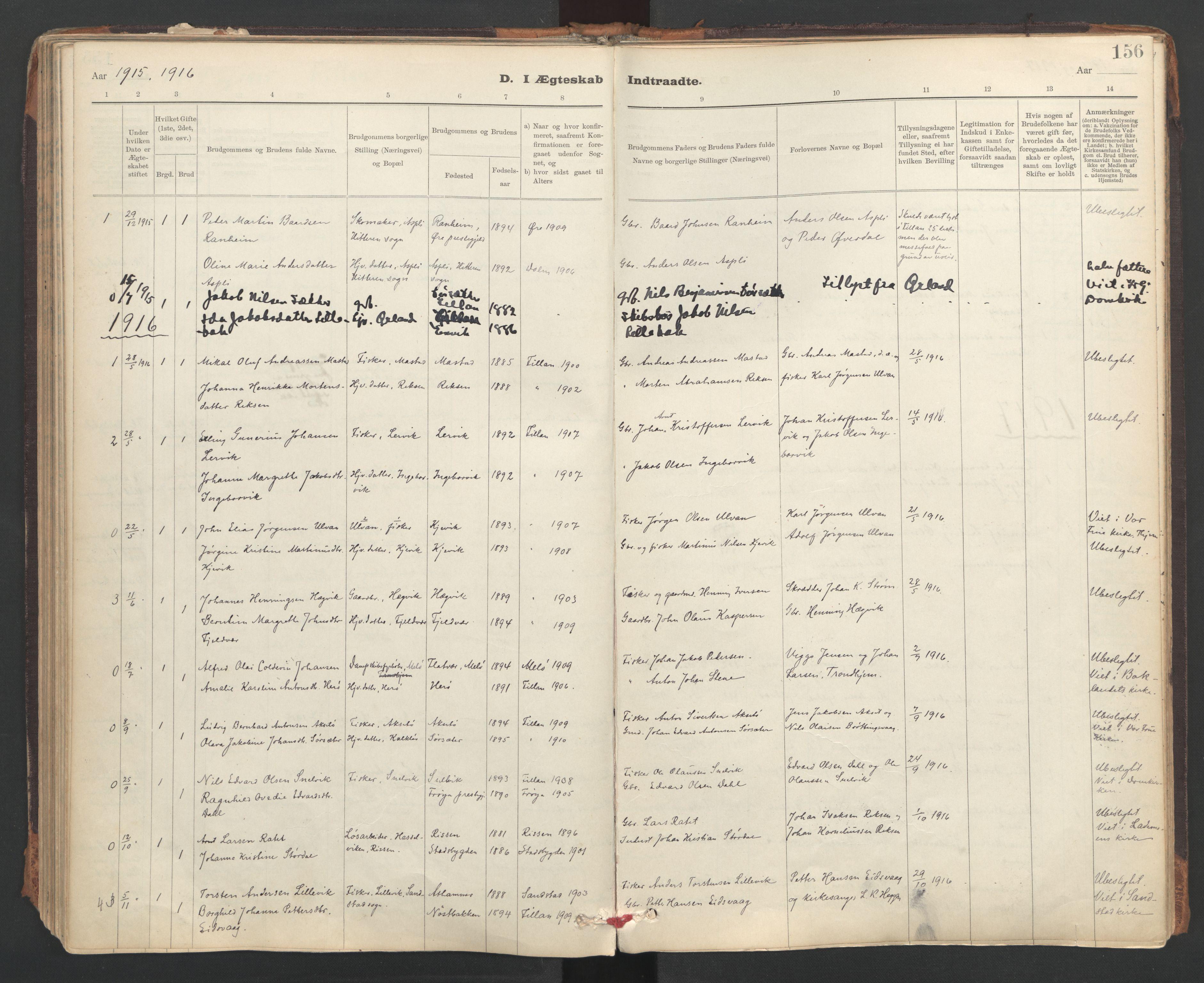 SAT, Ministerialprotokoller, klokkerbøker og fødselsregistre - Sør-Trøndelag, 637/L0559: Ministerialbok nr. 637A02, 1899-1923, s. 156