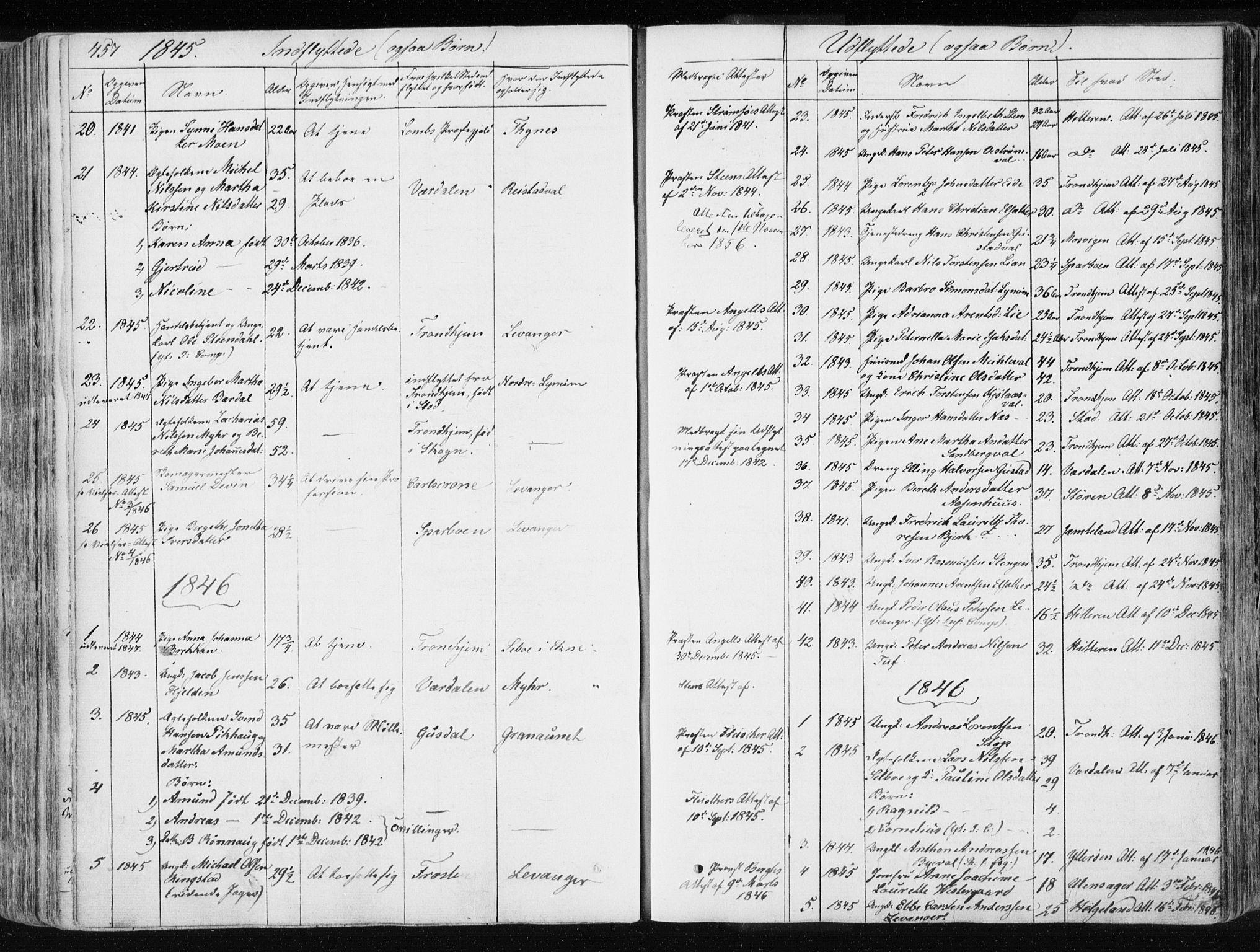 SAT, Ministerialprotokoller, klokkerbøker og fødselsregistre - Nord-Trøndelag, 717/L0154: Ministerialbok nr. 717A06 /1, 1836-1849, s. 457