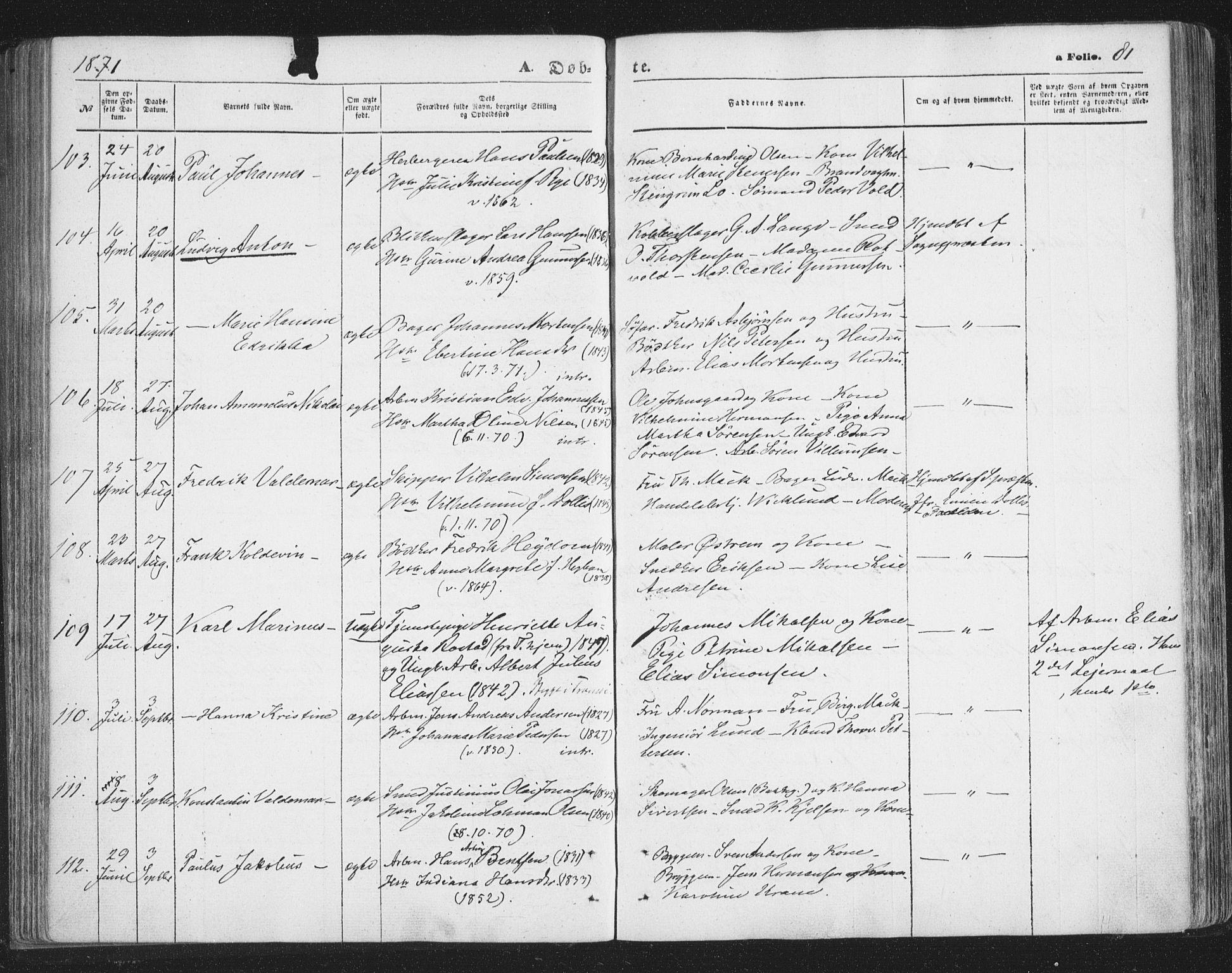 SATØ, Tromsø sokneprestkontor/stiftsprosti/domprosti, G/Ga/L0012kirke: Ministerialbok nr. 12, 1865-1871, s. 81