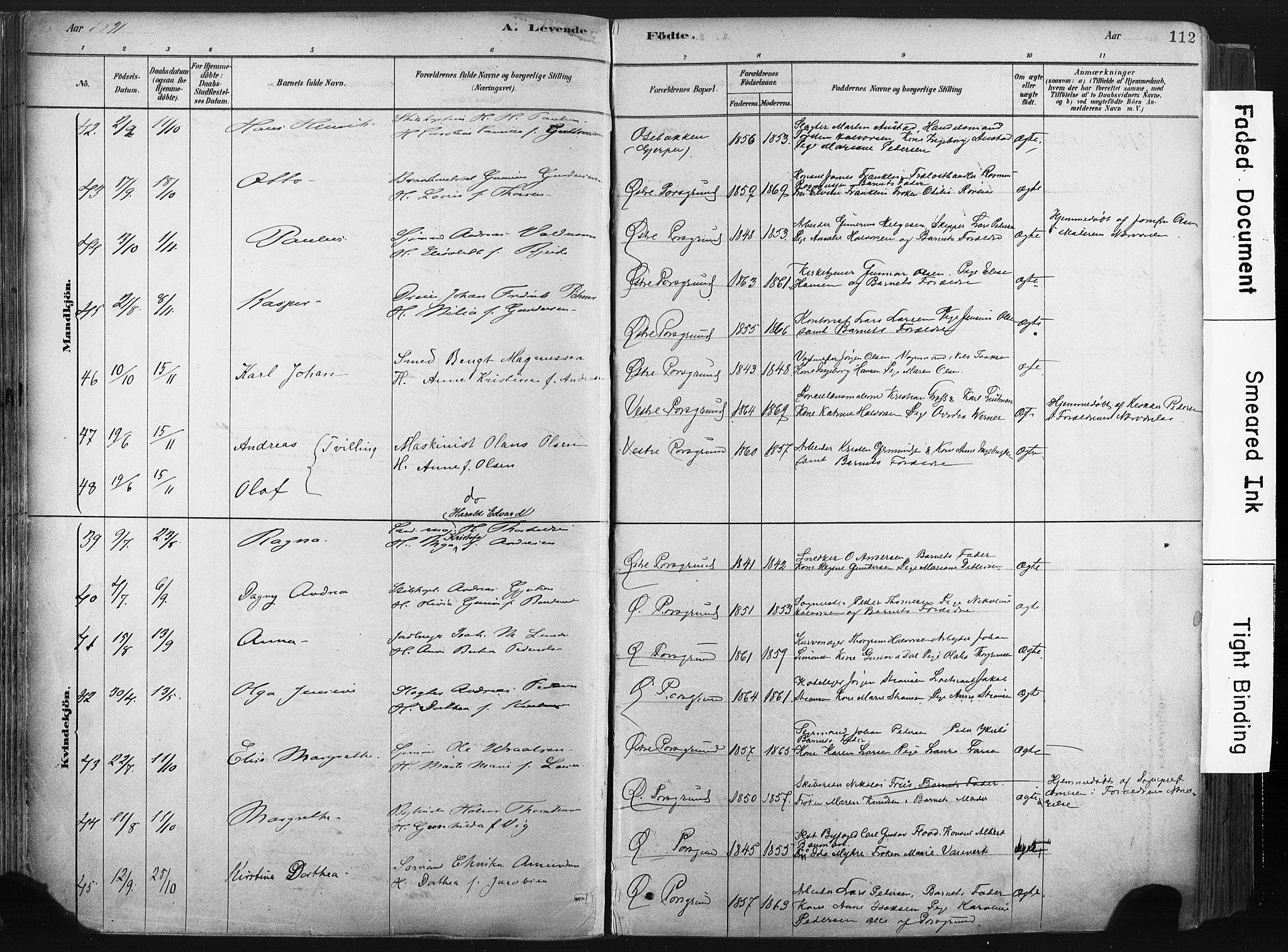 SAKO, Porsgrunn kirkebøker , F/Fa/L0008: Ministerialbok nr. 8, 1878-1895, s. 112