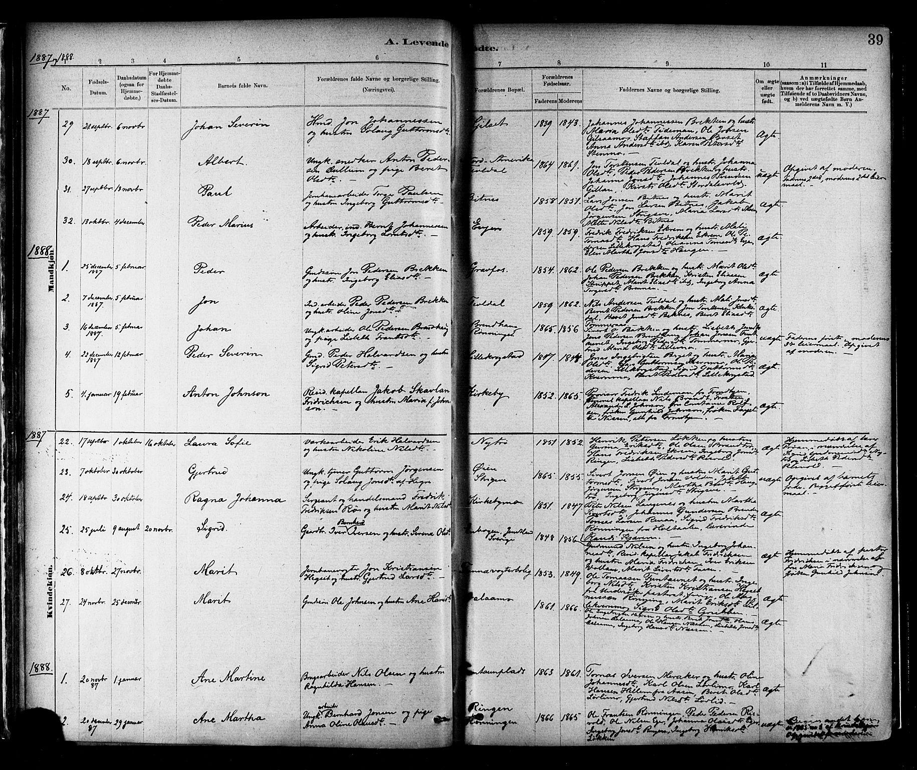 SAT, Ministerialprotokoller, klokkerbøker og fødselsregistre - Nord-Trøndelag, 706/L0047: Ministerialbok nr. 706A03, 1878-1892, s. 39
