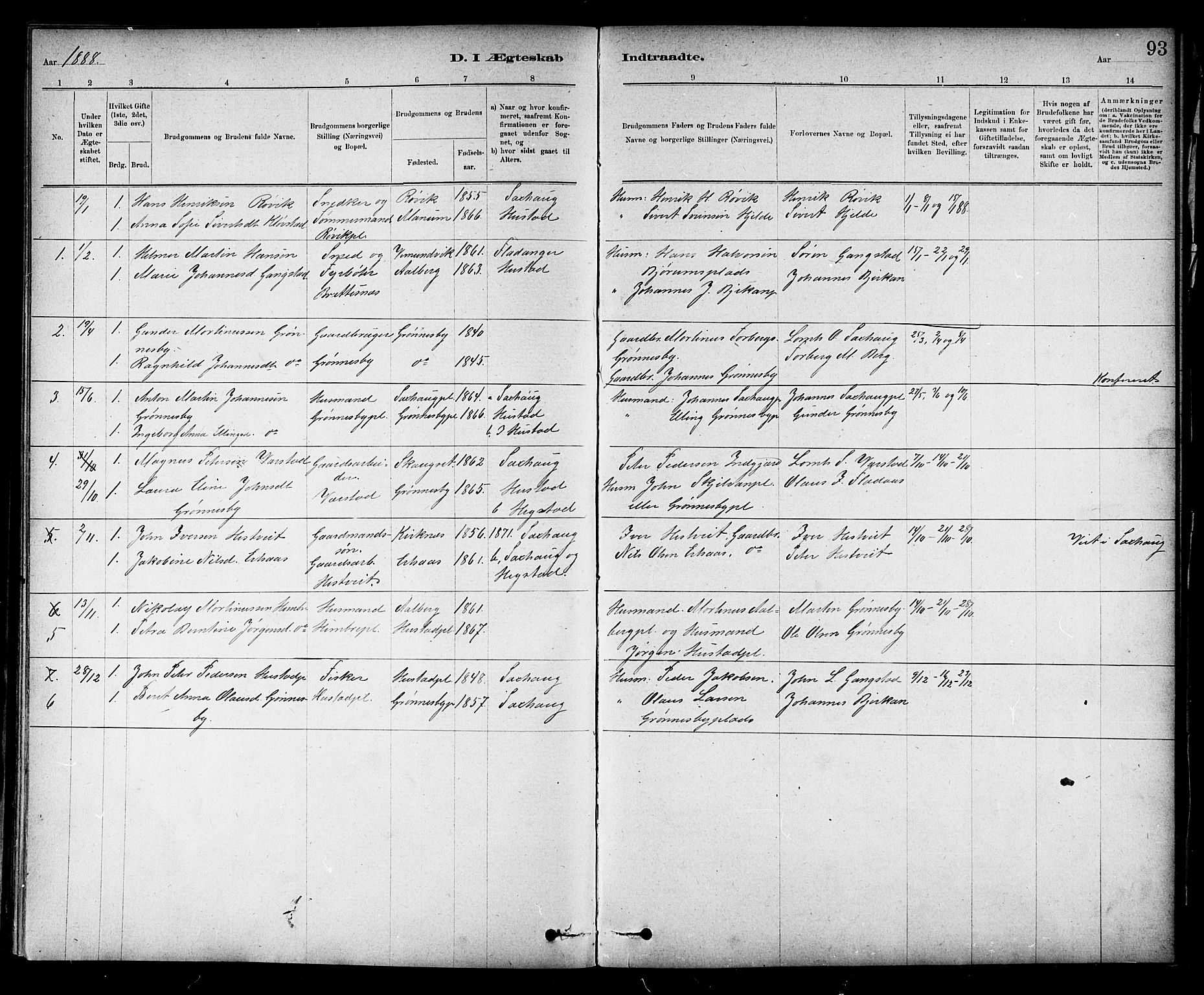 SAT, Ministerialprotokoller, klokkerbøker og fødselsregistre - Nord-Trøndelag, 732/L0318: Klokkerbok nr. 732C02, 1881-1911, s. 93