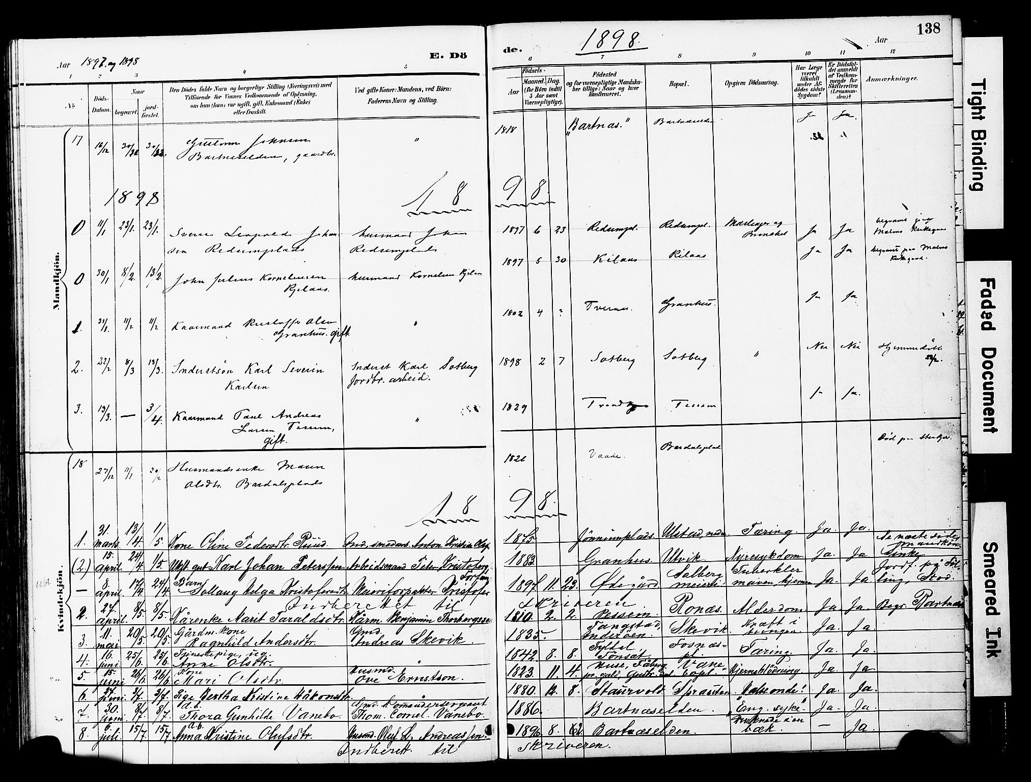 SAT, Ministerialprotokoller, klokkerbøker og fødselsregistre - Nord-Trøndelag, 741/L0396: Ministerialbok nr. 741A10, 1889-1901, s. 138