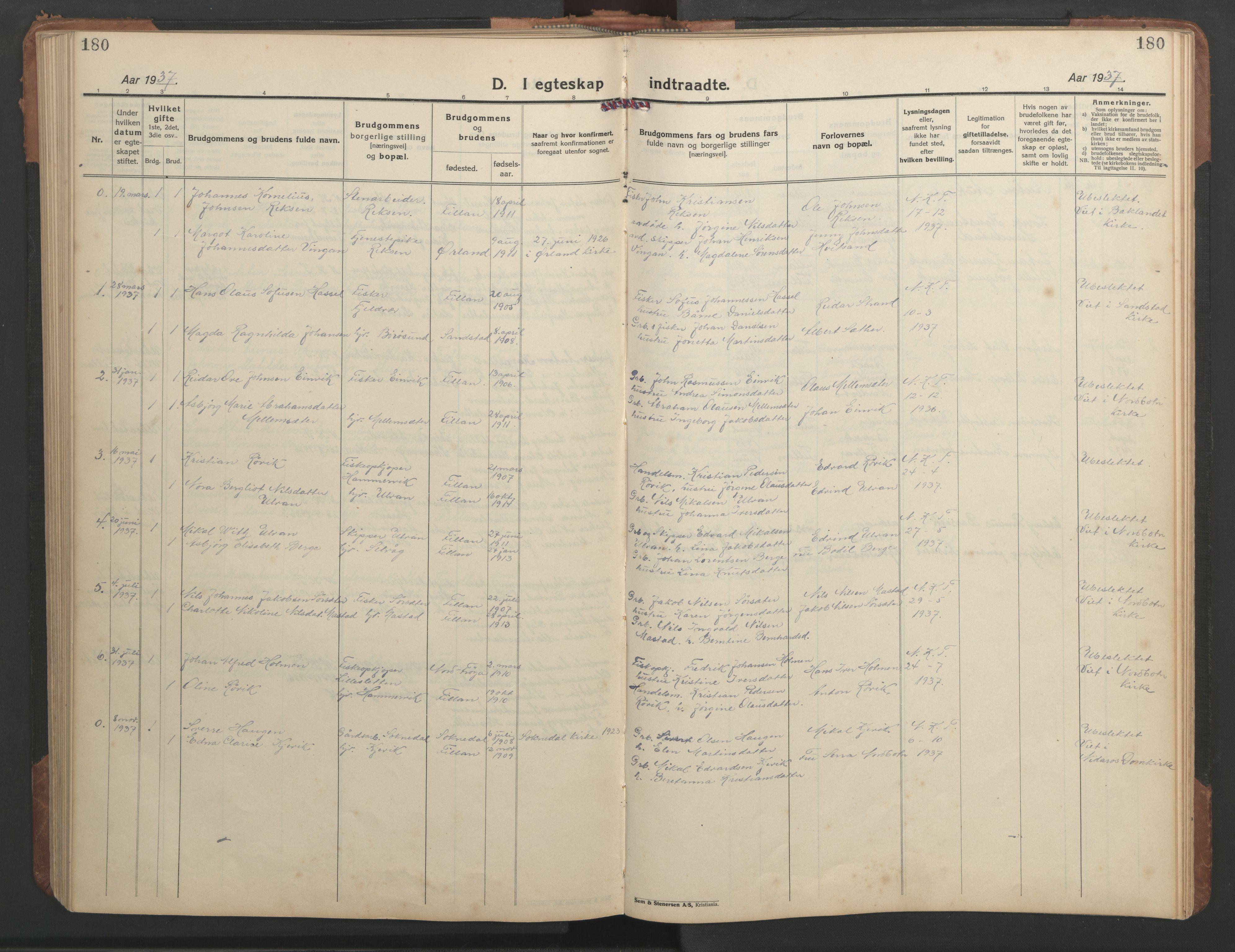 SAT, Ministerialprotokoller, klokkerbøker og fødselsregistre - Sør-Trøndelag, 638/L0569: Klokkerbok nr. 638C01, 1923-1961, s. 180