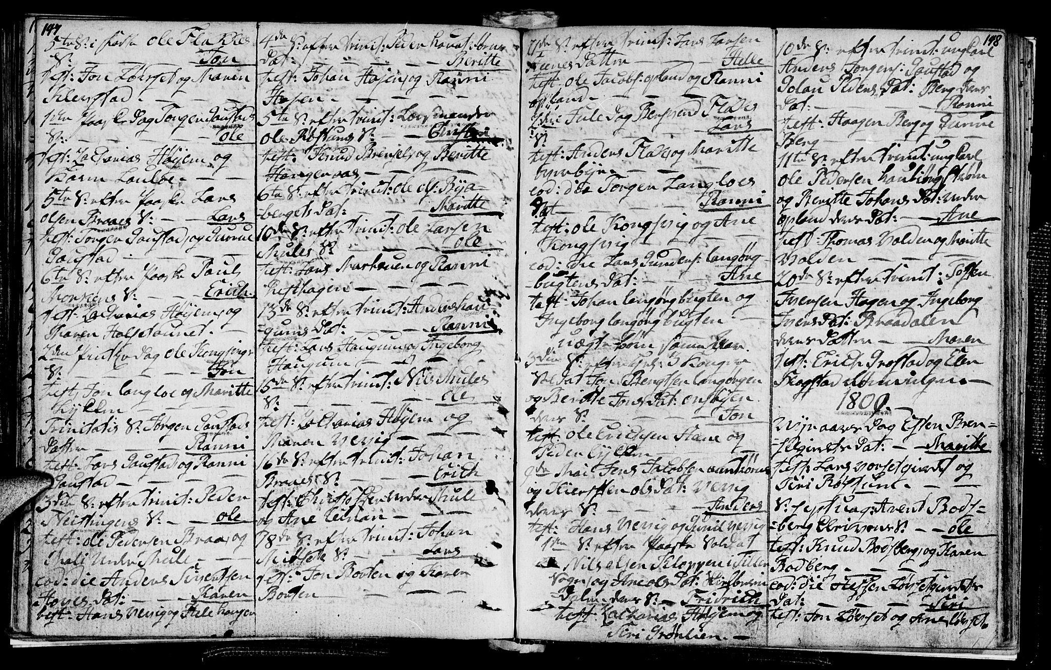 SAT, Ministerialprotokoller, klokkerbøker og fødselsregistre - Sør-Trøndelag, 612/L0371: Ministerialbok nr. 612A05, 1803-1816, s. 147-148