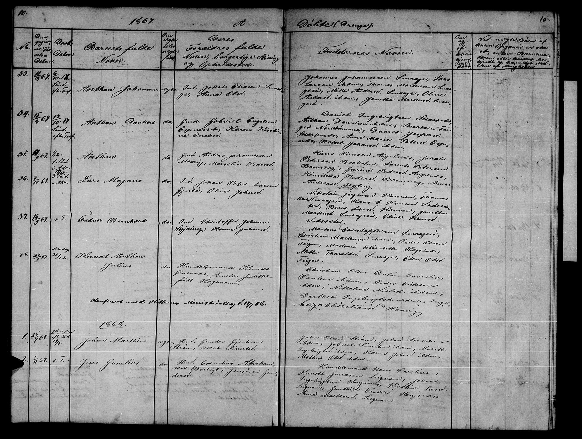 SAT, Ministerialprotokoller, klokkerbøker og fødselsregistre - Sør-Trøndelag, 634/L0539: Klokkerbok nr. 634C01, 1866-1873, s. 10
