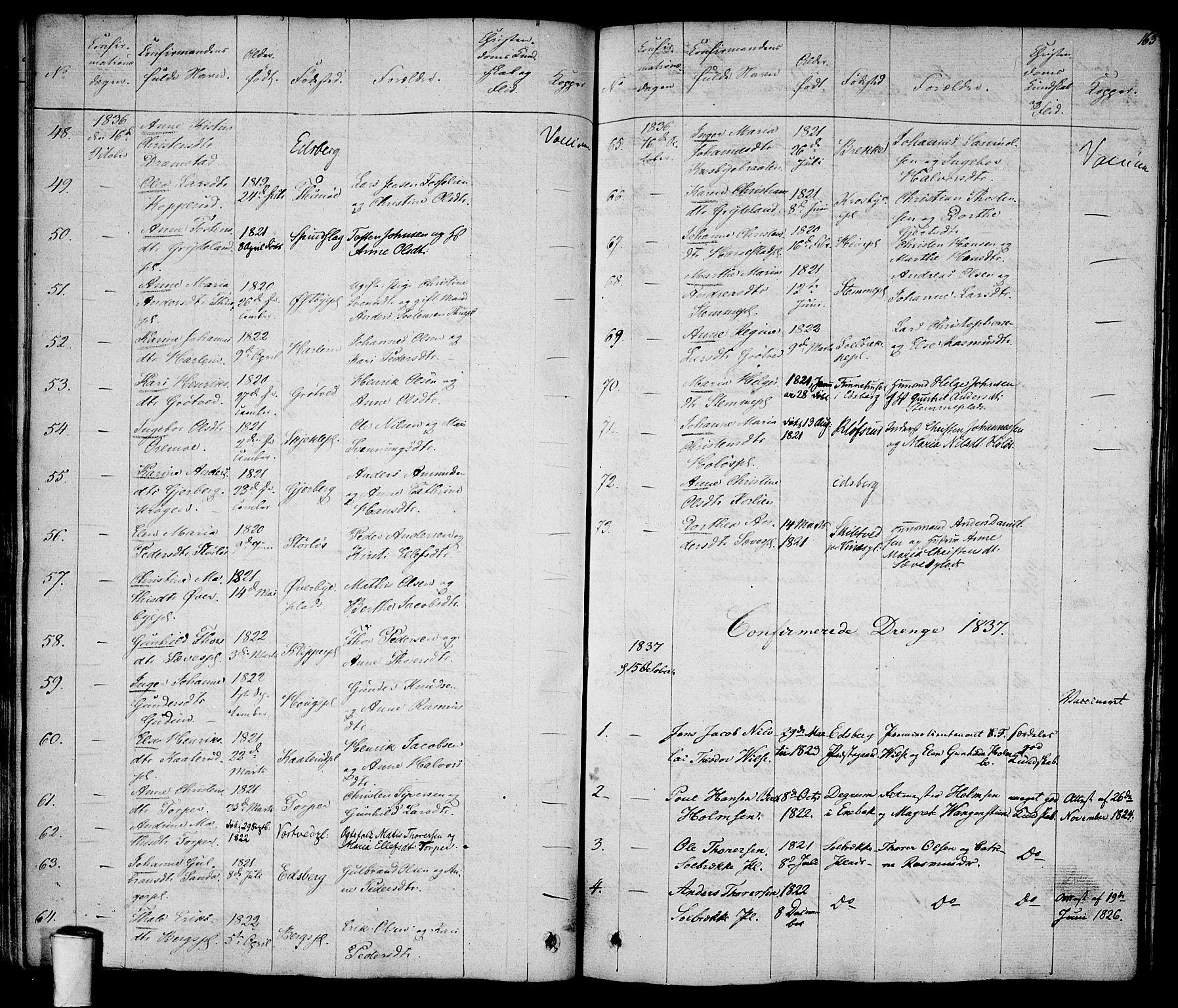 SAO, Rakkestad prestekontor Kirkebøker, F/Fa/L0007: Ministerialbok nr. I 7, 1825-1841, s. 163