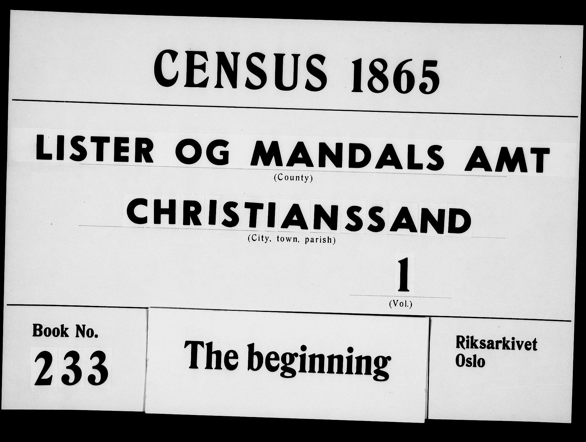 RA, Folketelling 1865 for 1001P Kristiansand prestegjeld, 1865, s. 1
