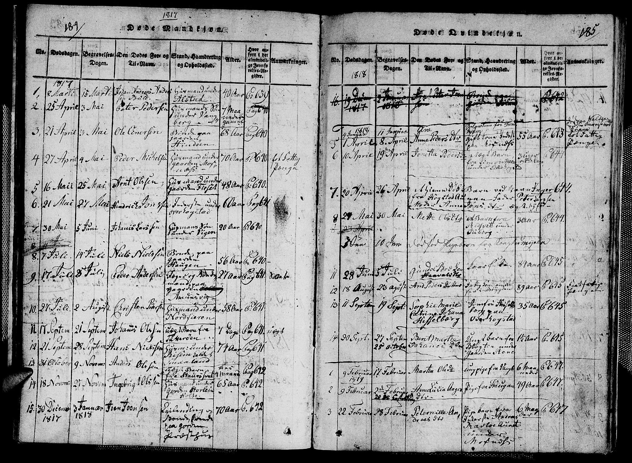 SAT, Ministerialprotokoller, klokkerbøker og fødselsregistre - Nord-Trøndelag, 713/L0124: Klokkerbok nr. 713C01, 1817-1827, s. 184-185