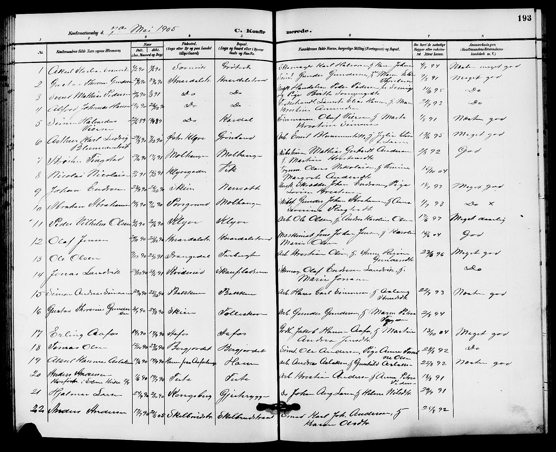 SAKO, Solum kirkebøker, G/Ga/L0008: Klokkerbok nr. I 8, 1898-1909, s. 193