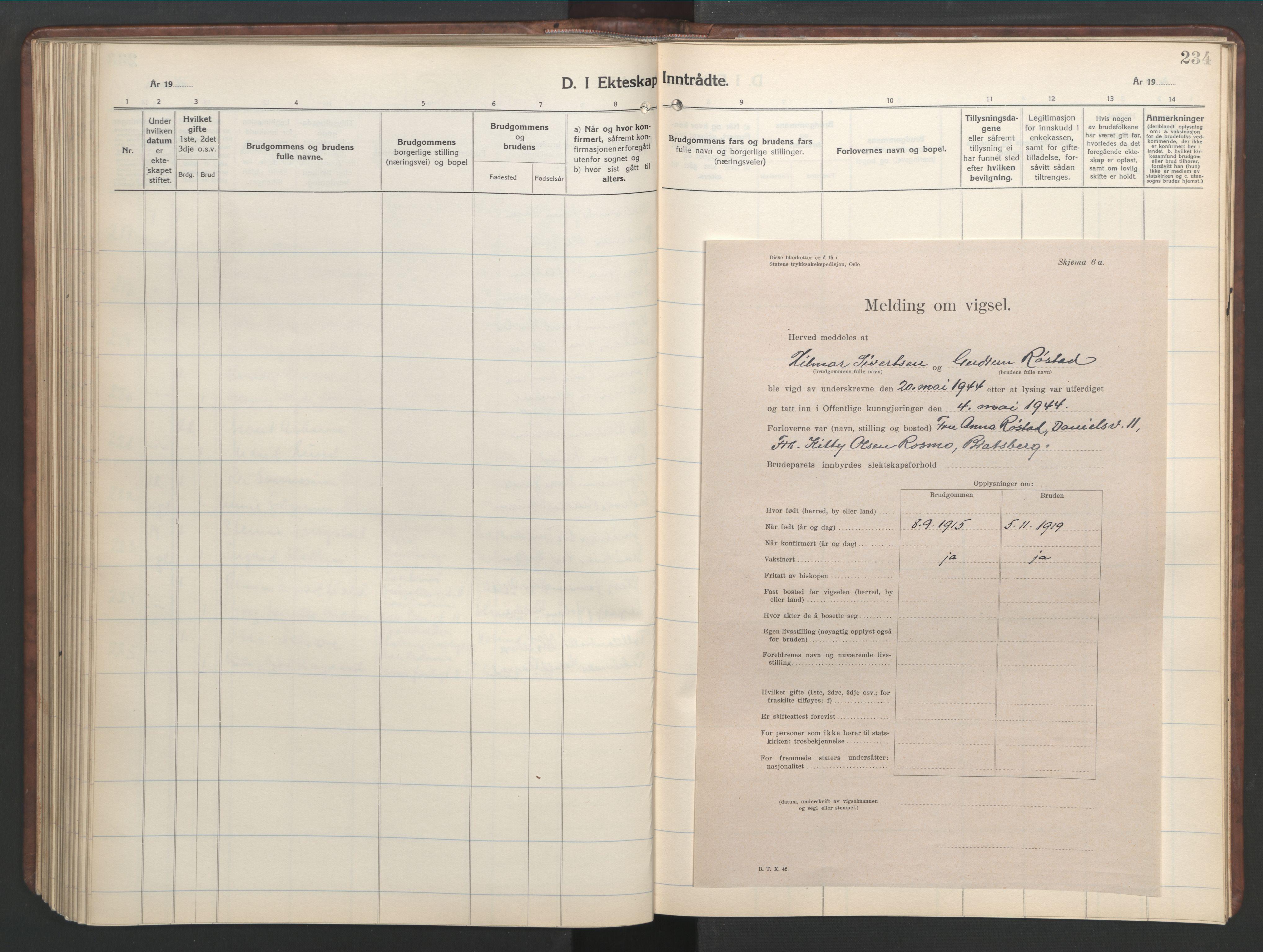 SAT, Ministerialprotokoller, klokkerbøker og fødselsregistre - Sør-Trøndelag, 601/L0101: Klokkerbok nr. 601C19, 1935-1946, s. 234