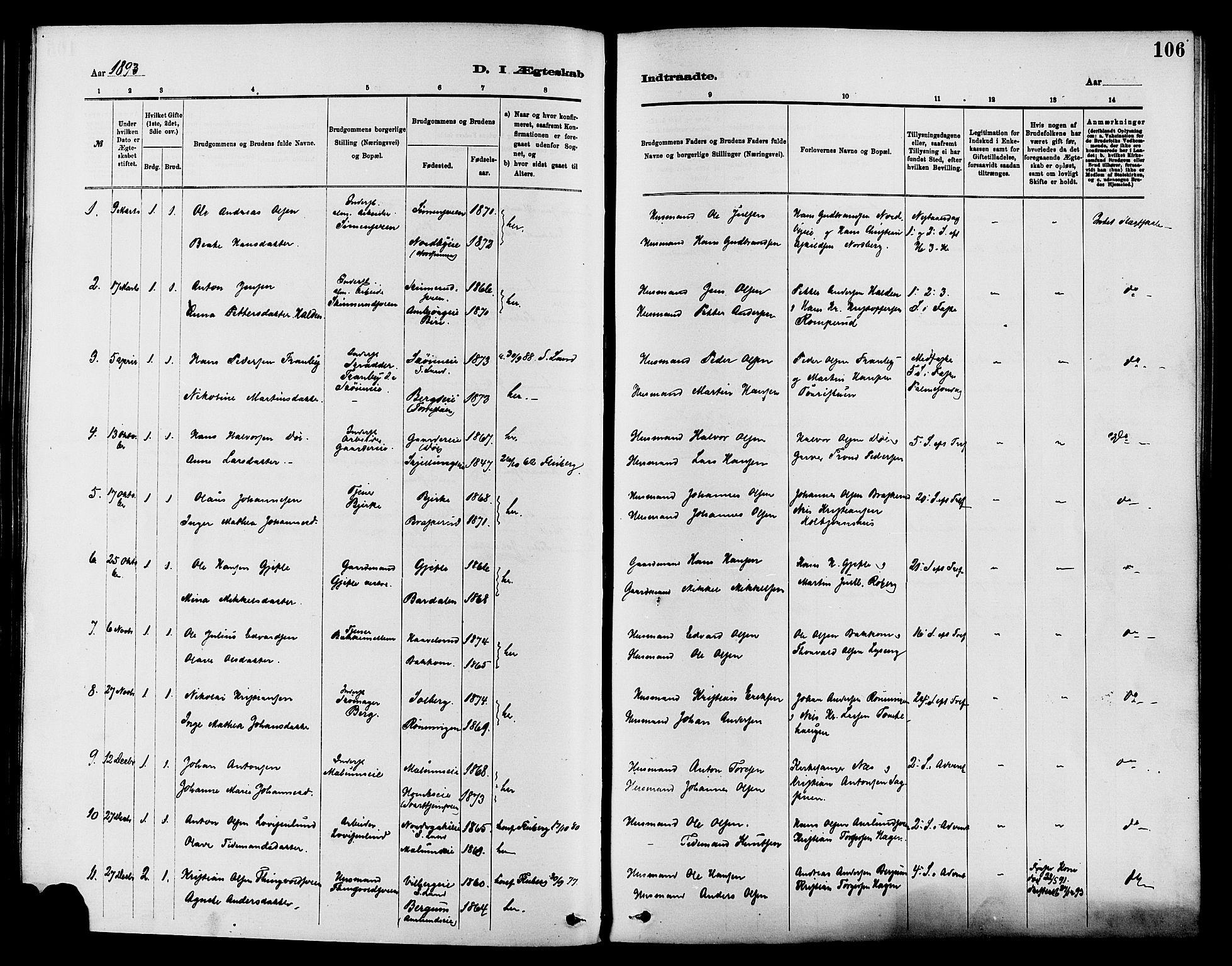 SAH, Nordre Land prestekontor, Ministerialbok nr. 3, 1882-1896, s. 106