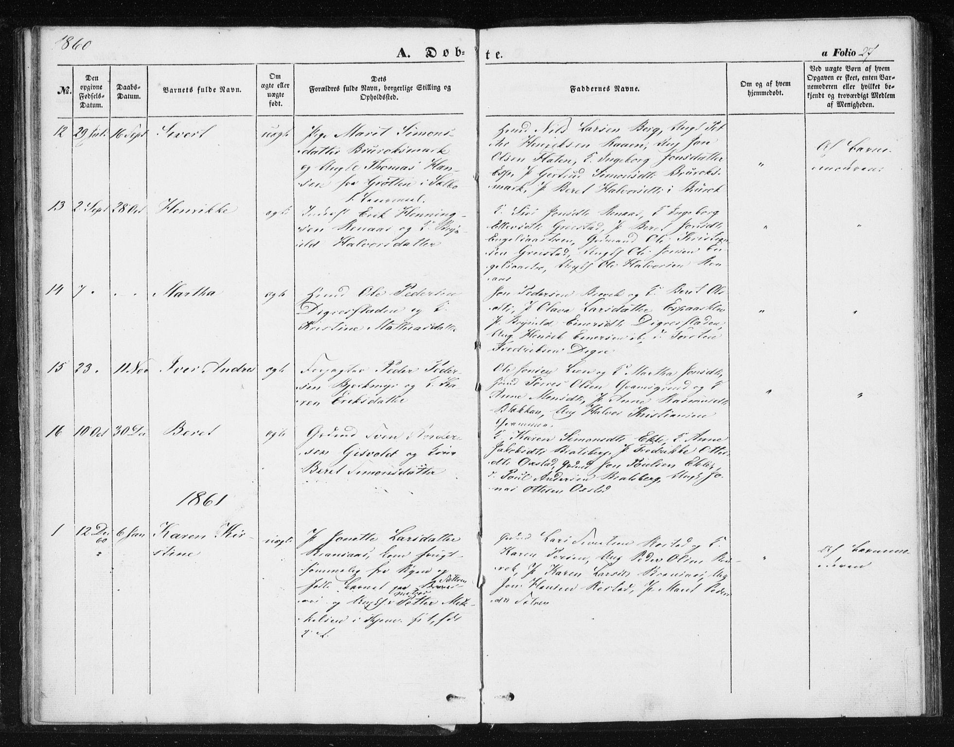 SAT, Ministerialprotokoller, klokkerbøker og fødselsregistre - Sør-Trøndelag, 608/L0332: Ministerialbok nr. 608A01, 1848-1861, s. 27