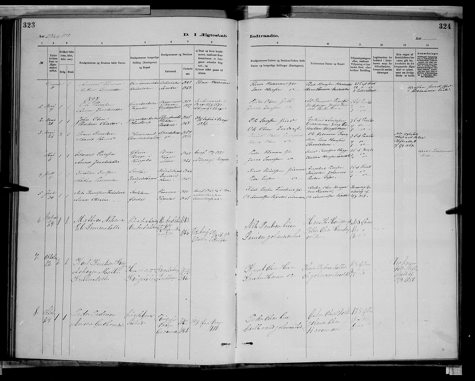 SAH, Sør-Fron prestekontor, H/Ha/Hab/L0003: Klokkerbok nr. 3, 1884-1896, s. 323-324
