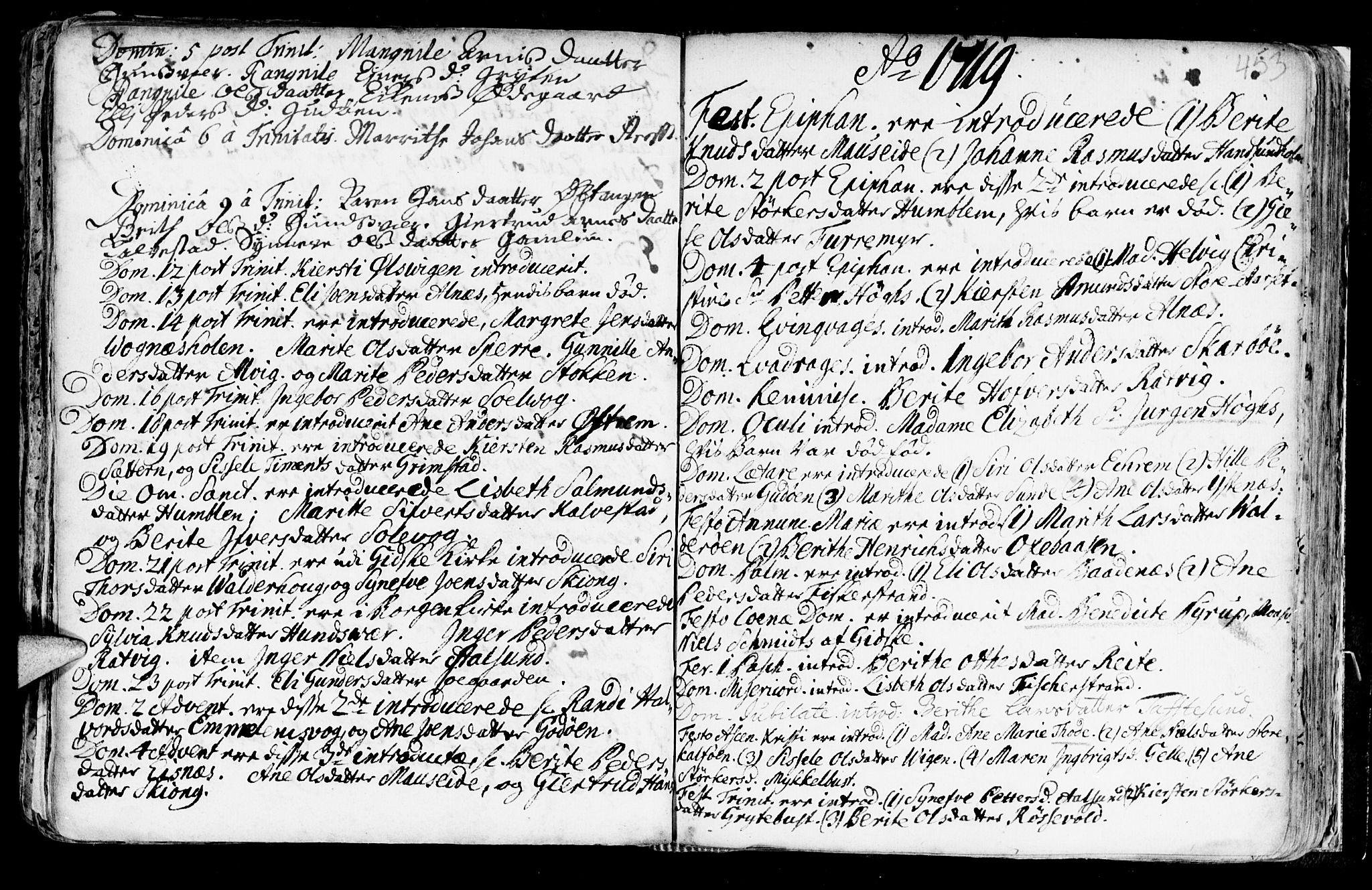 SAT, Ministerialprotokoller, klokkerbøker og fødselsregistre - Møre og Romsdal, 528/L0390: Ministerialbok nr. 528A01, 1698-1739, s. 452-453