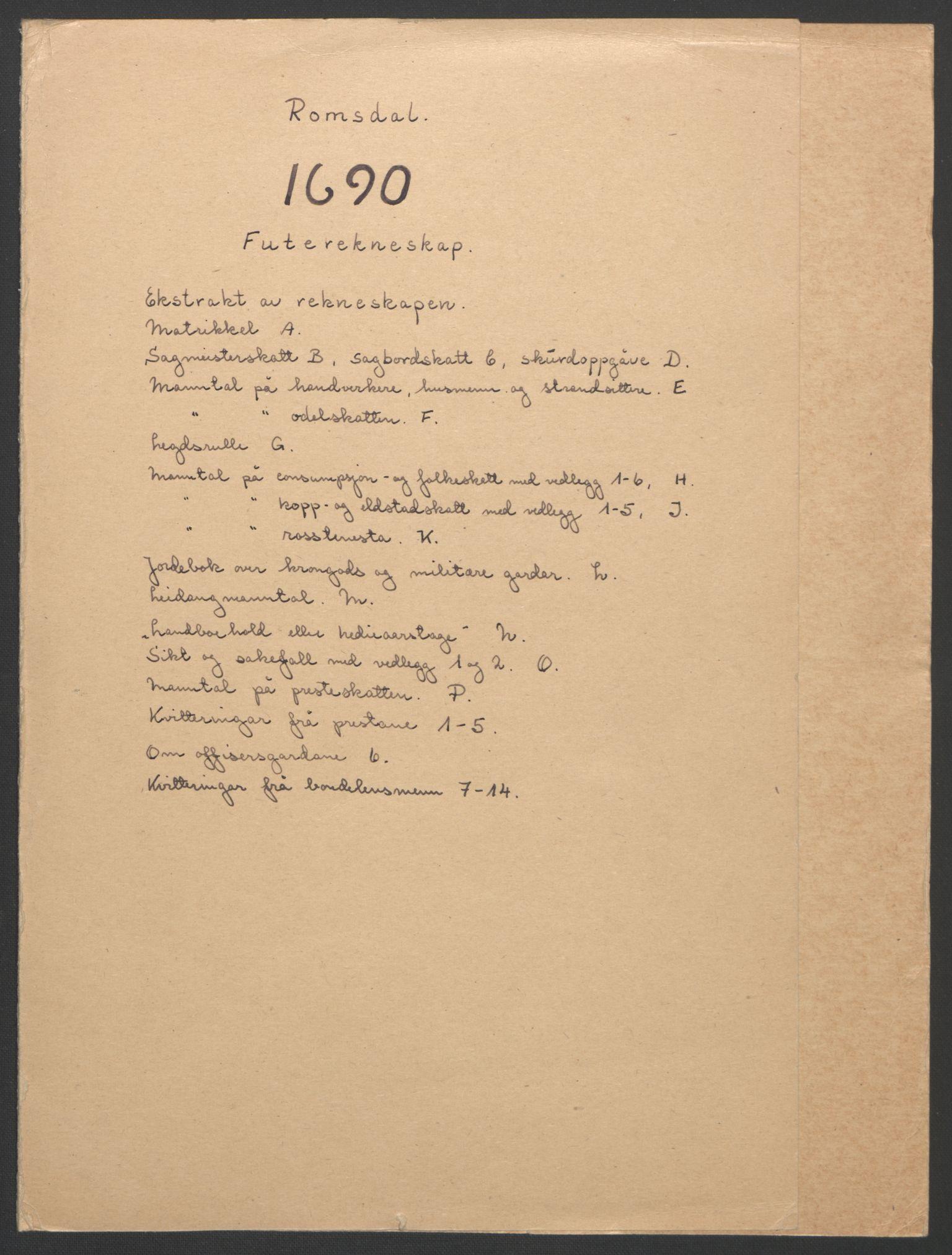 RA, Rentekammeret inntil 1814, Reviderte regnskaper, Fogderegnskap, R55/L3649: Fogderegnskap Romsdal, 1690-1691, s. 2
