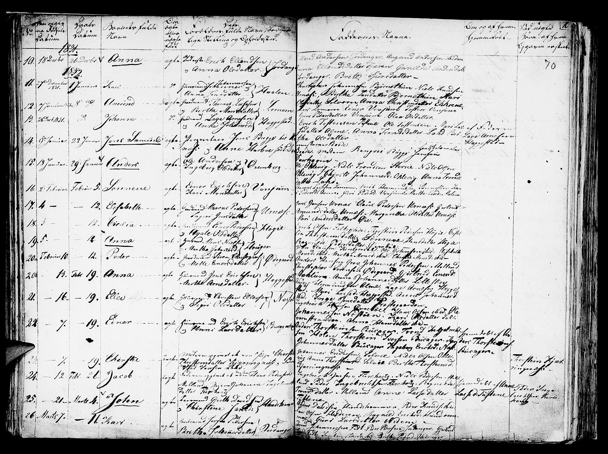 SAB, Hafslo Sokneprestembete, Ministerialbok nr. A 4, 1821-1834, s. 70