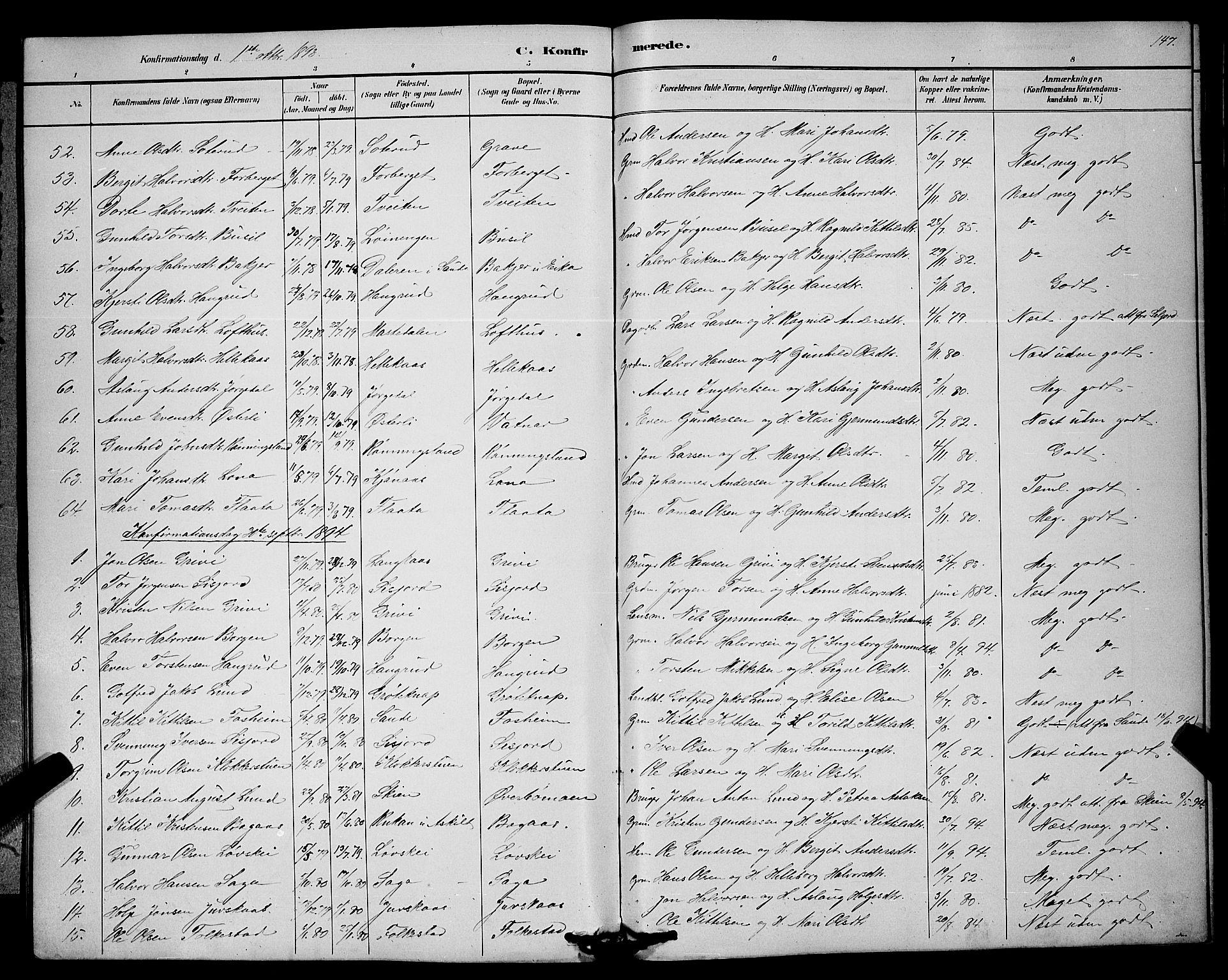 SAKO, Bø kirkebøker, G/Ga/L0005: Klokkerbok nr. 5, 1883-1897, s. 147
