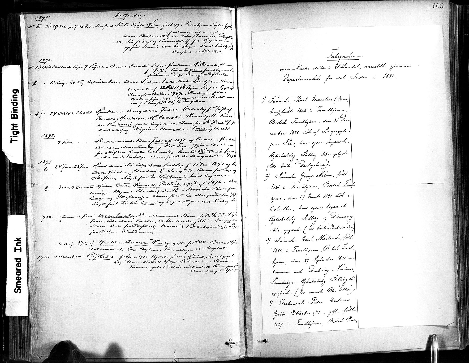 SAT, Ministerialprotokoller, klokkerbøker og fødselsregistre - Sør-Trøndelag, 602/L0120: Ministerialbok nr. 602A18, 1880-1913, s. 103