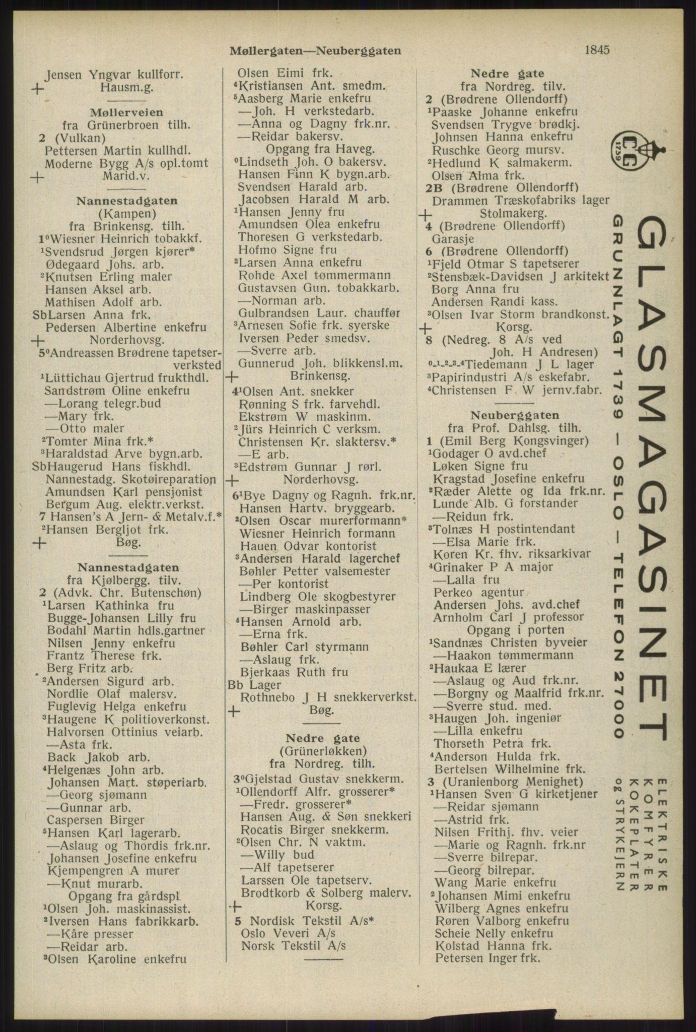 RA, Oslo adressebok (publikasjon)*, 1934, s. 1845