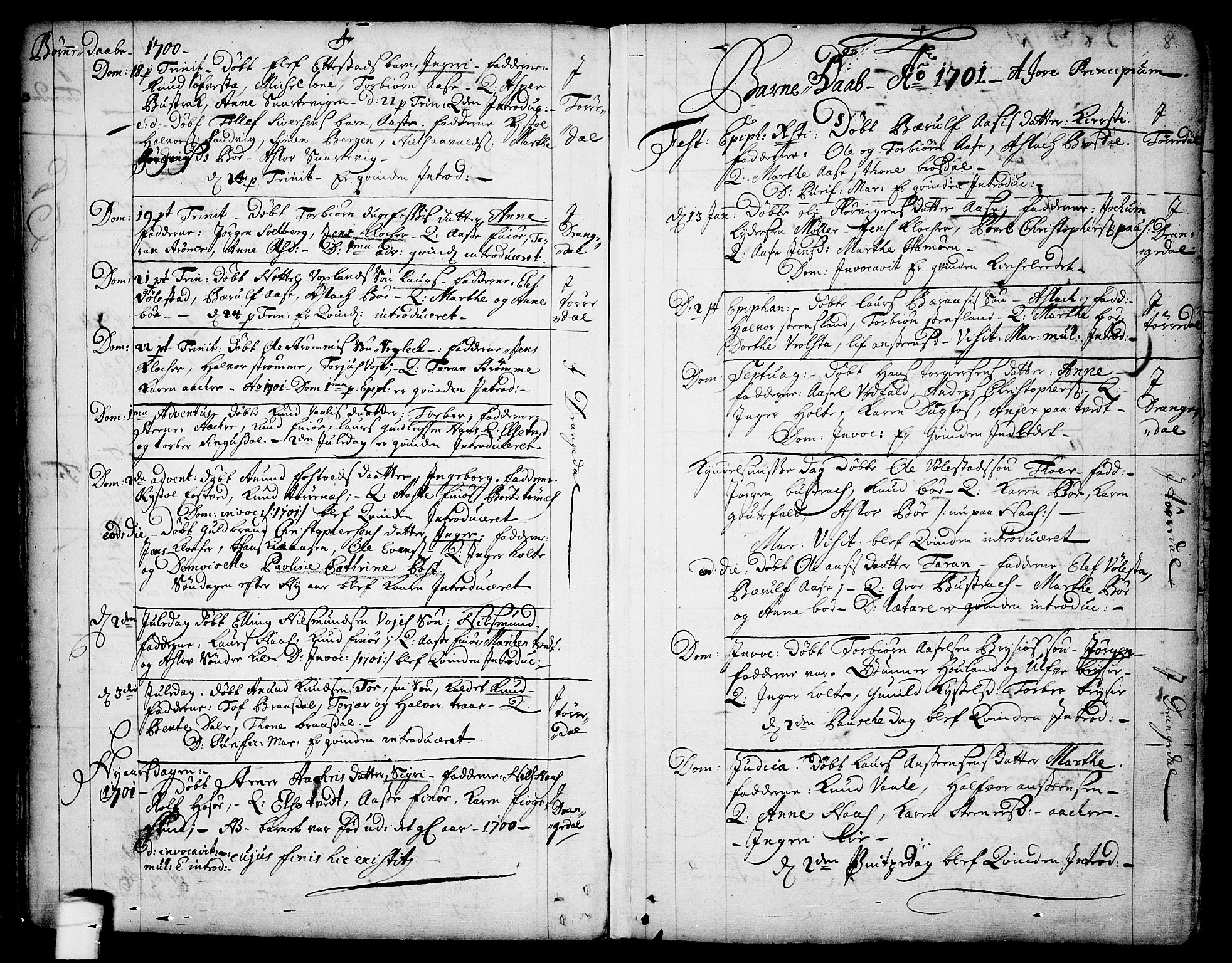 SAKO, Drangedal kirkebøker, F/Fa/L0001: Ministerialbok nr. 1, 1697-1767, s. 8