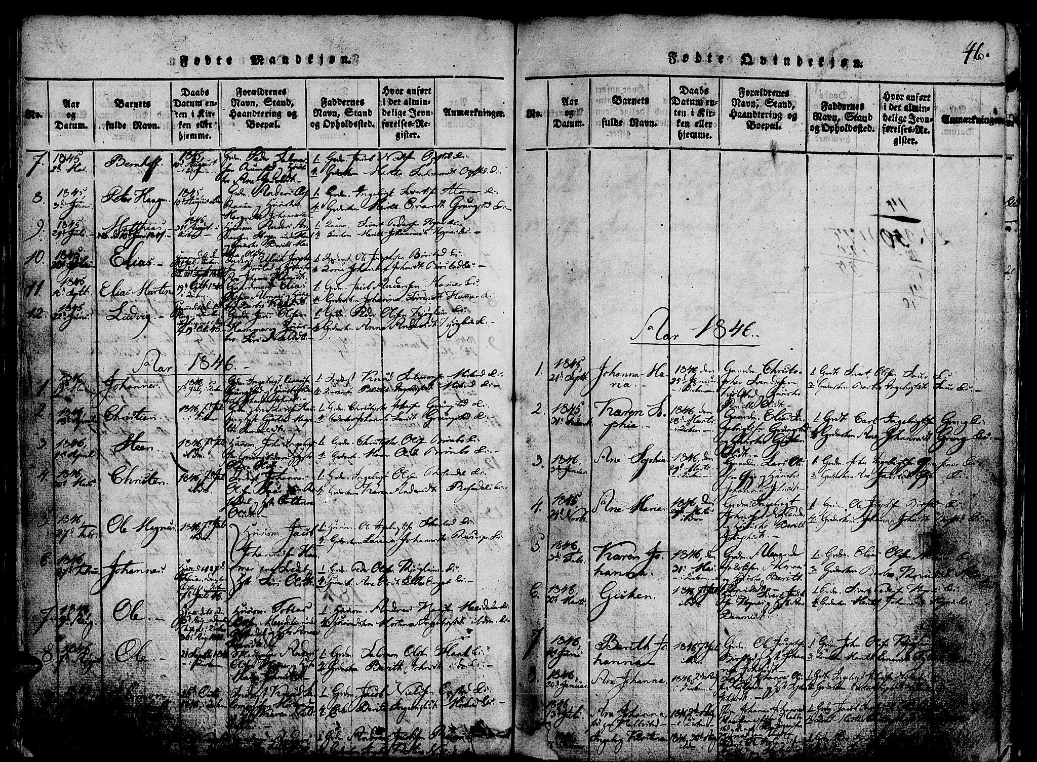 SAT, Ministerialprotokoller, klokkerbøker og fødselsregistre - Nord-Trøndelag, 765/L0562: Klokkerbok nr. 765C01, 1817-1851, s. 46